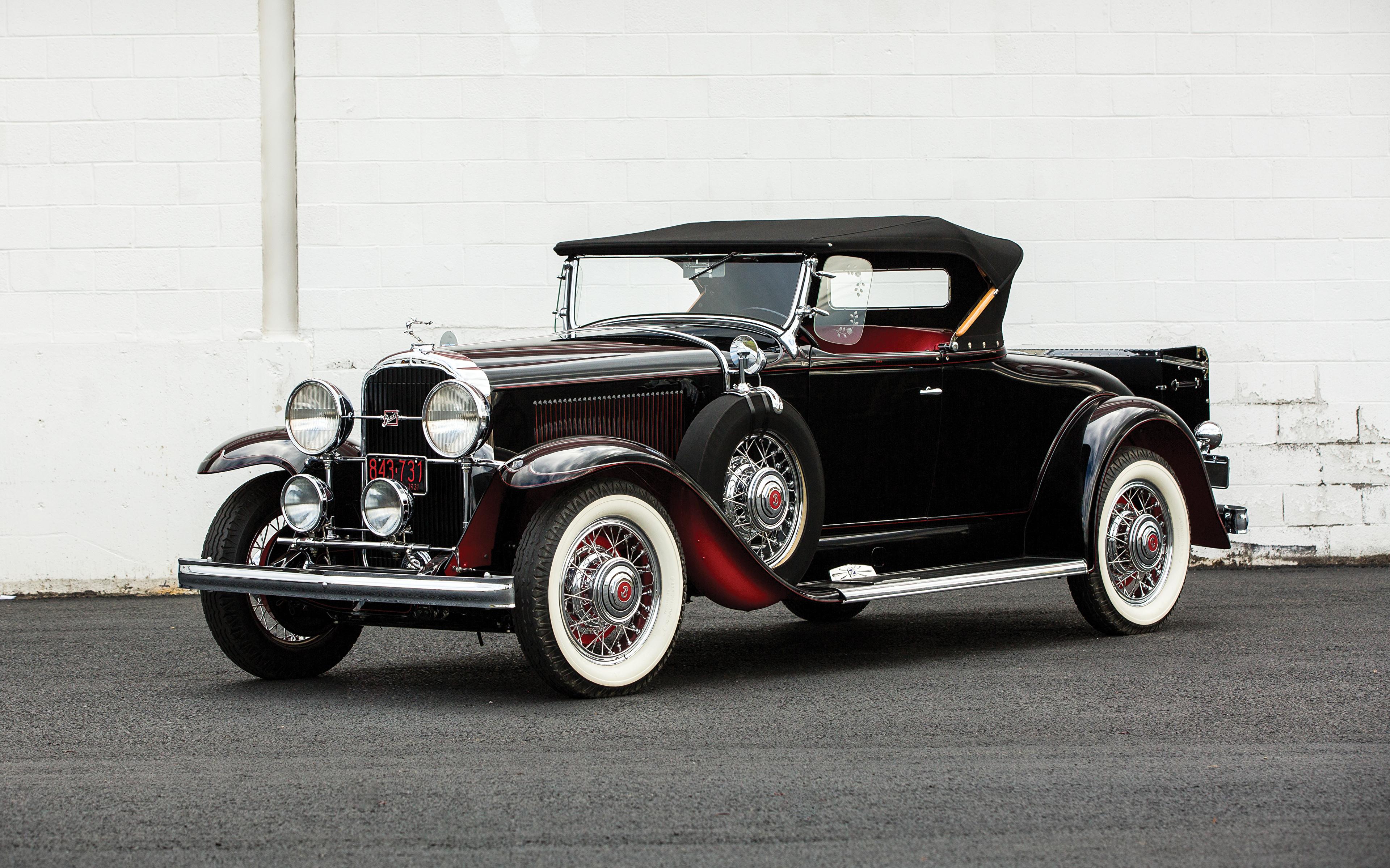 Фотография Бьюик 1931 Series 90 Roadster Родстер Ретро черных Автомобили 3840x2400 Buick Черный черные черная винтаж старинные авто машина машины автомобиль