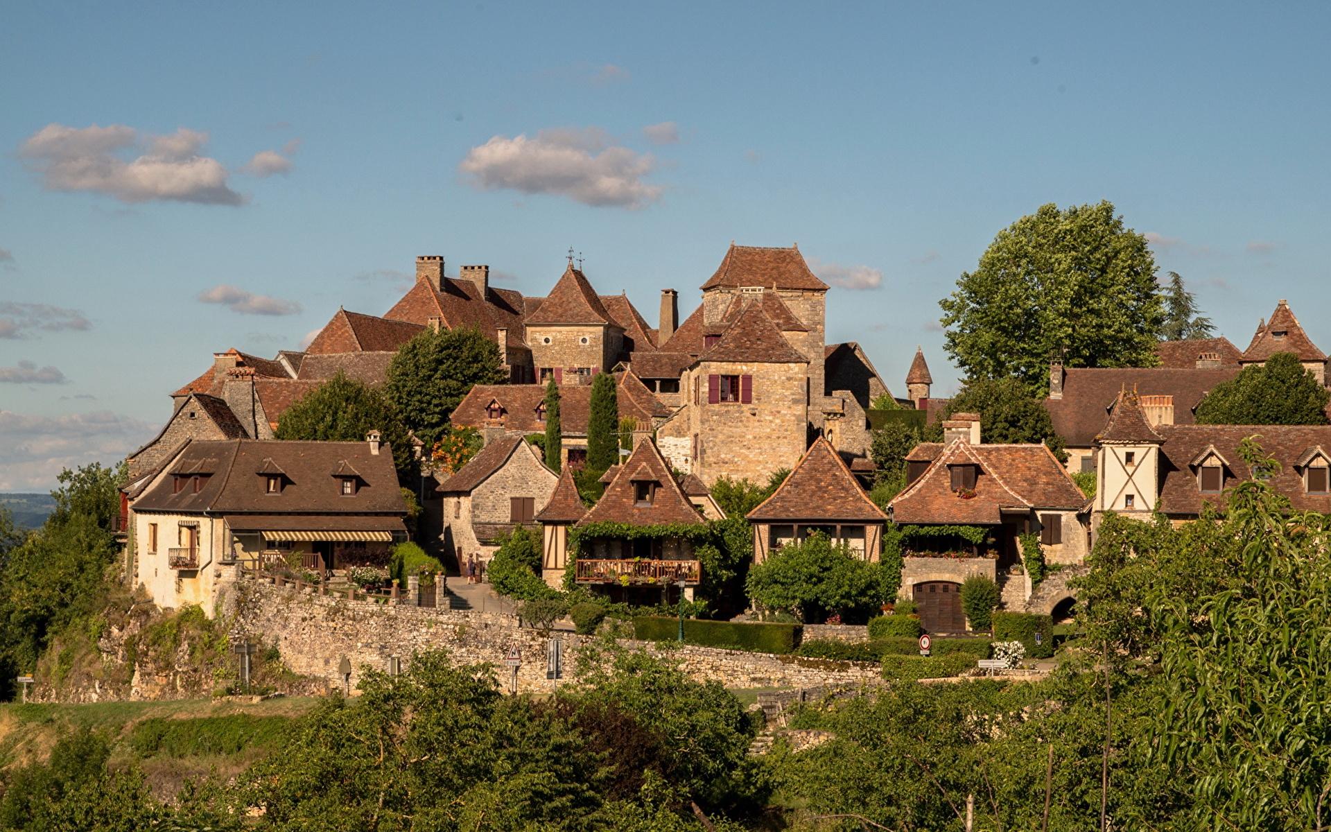Фотографии Франция Loubressac Дома Города 1920x1200 город Здания