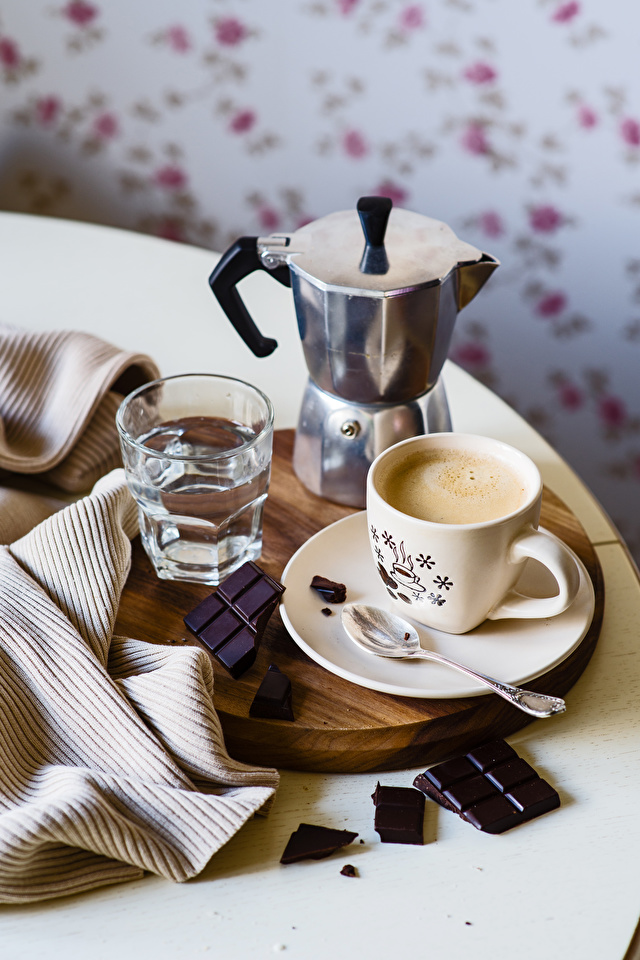 Фотография Шоколад Кофе Стакан Чайник Еда Чашка 640x960 стакана стакане Пища чашке Продукты питания