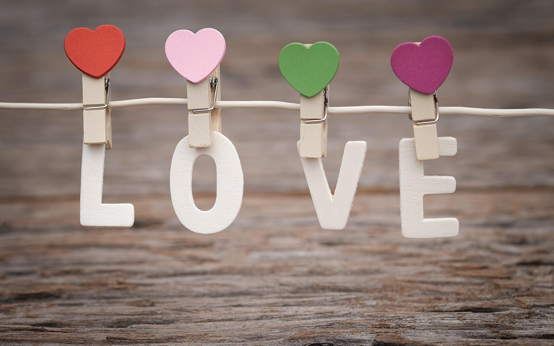 Фотография День святого Валентина английская Сердце Прищепки Слово - Надпись 1920x1200 День всех влюблённых Английский инглийские серце сердца сердечко слова текст