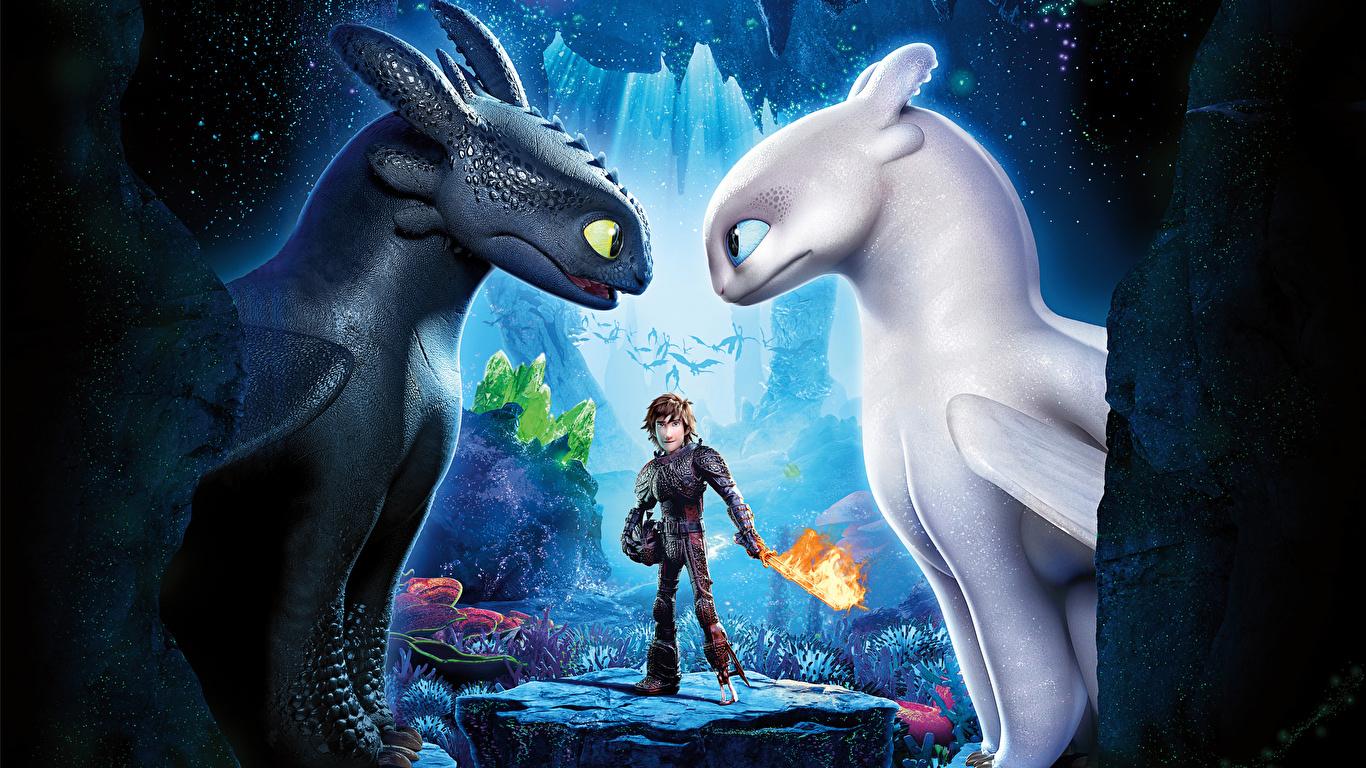 Фотографии Как приручить дракона Драконы Парни 3, Icking, Night Fury 3д Мультфильмы 1366x768 дракон юноша парень подросток мультик Мультики 3D Графика