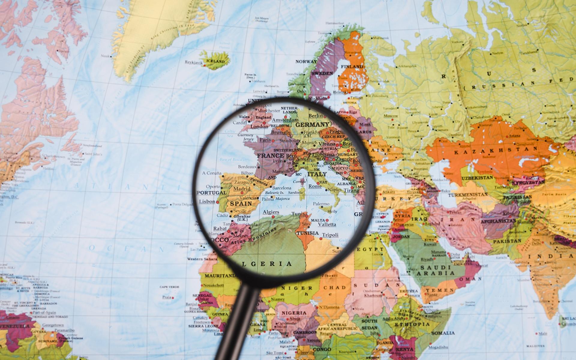 Фотография Европа Африка Лупа Географическая карта География 1920x1200 Увеличительное стекло