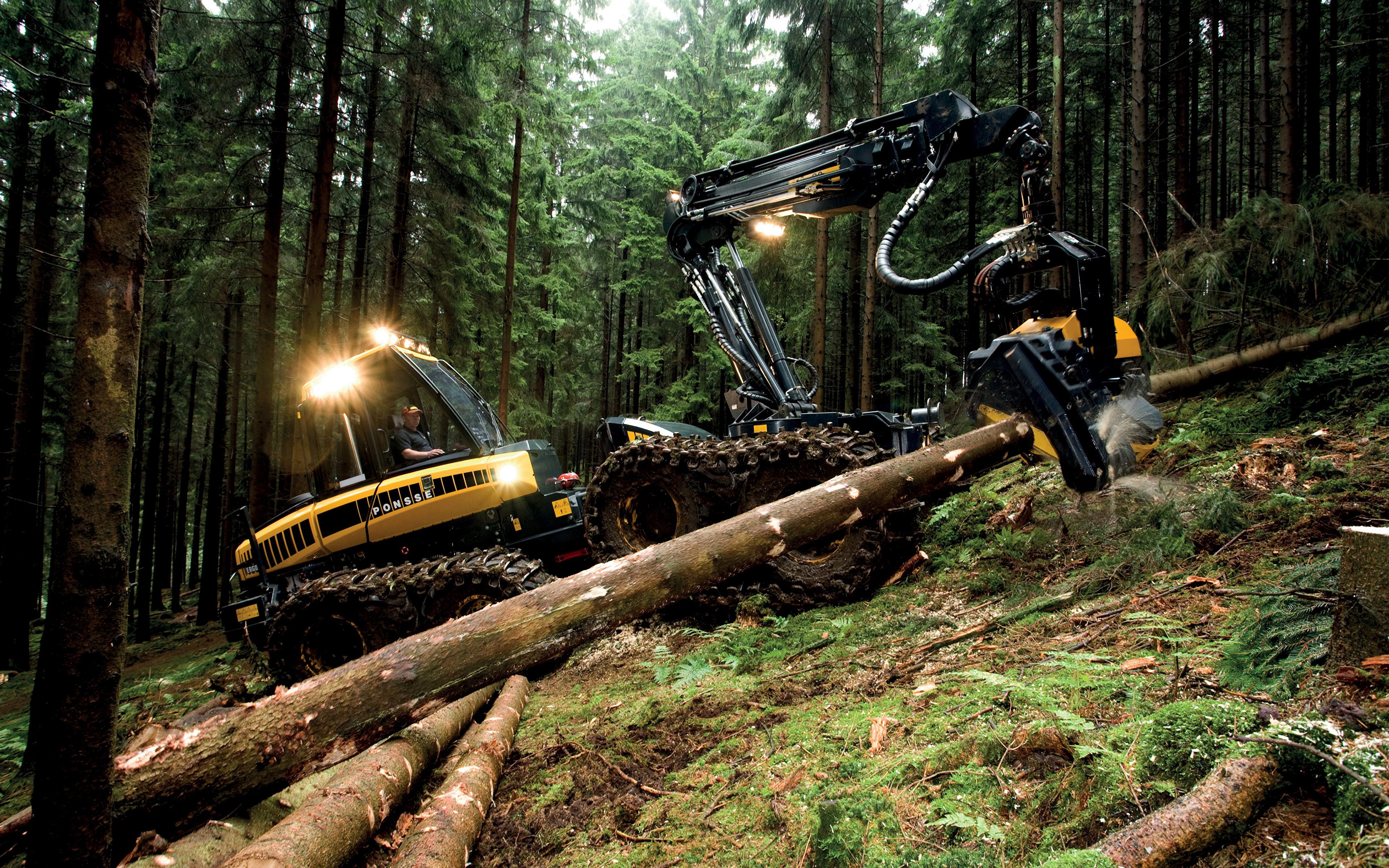 Картинки Форвардер 2010-14 Ponsse Ergo 8w бревно лес 3840x2400 Бревна Леса