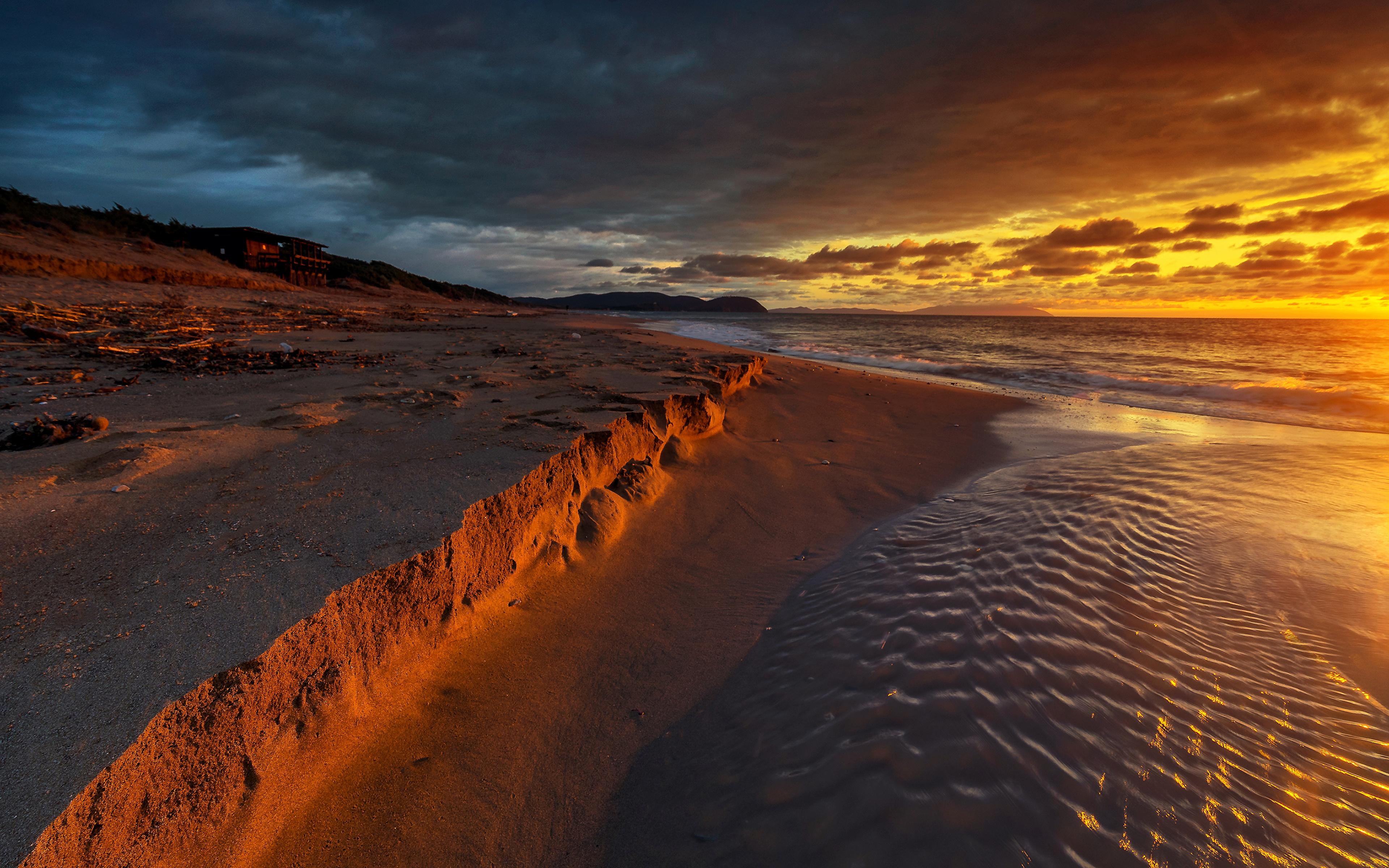 Пляж песок закат бесплатно