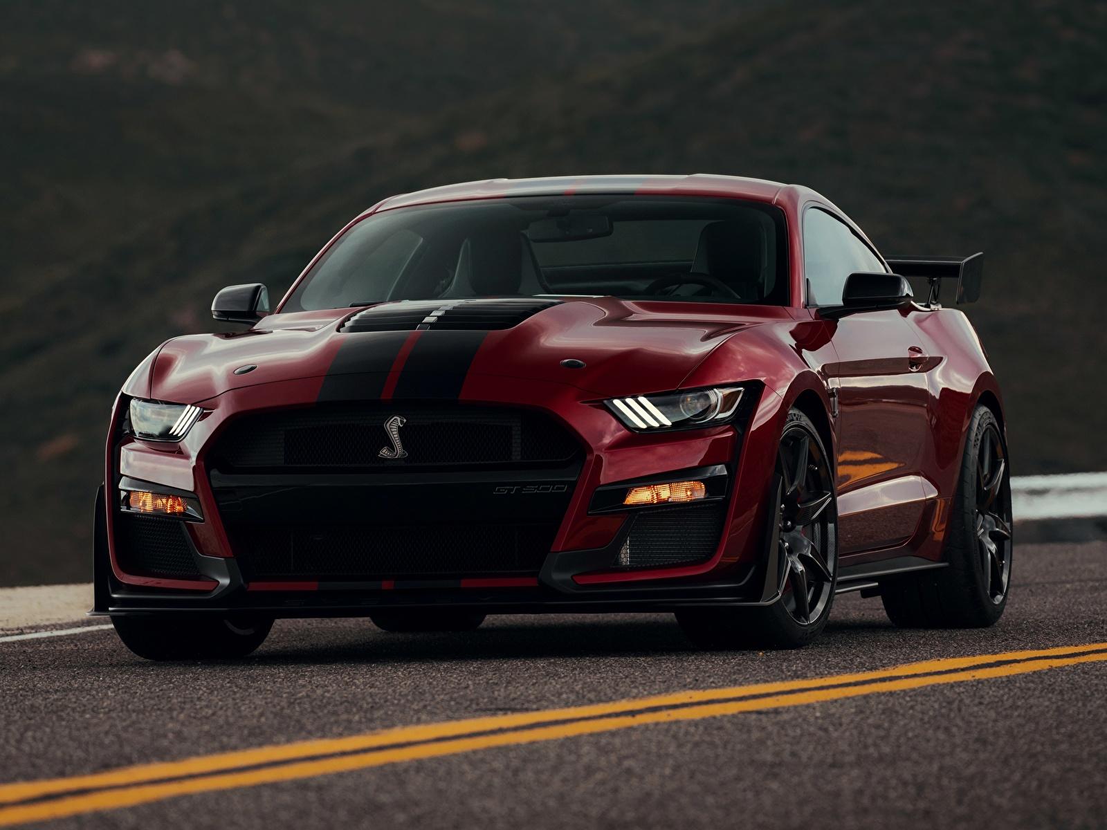 Фотография Ford Mustang Shelby GT500 2019 Бордовый Спереди автомобиль 1600x1200 Форд бордовая бордовые темно красный авто машины машина Автомобили
