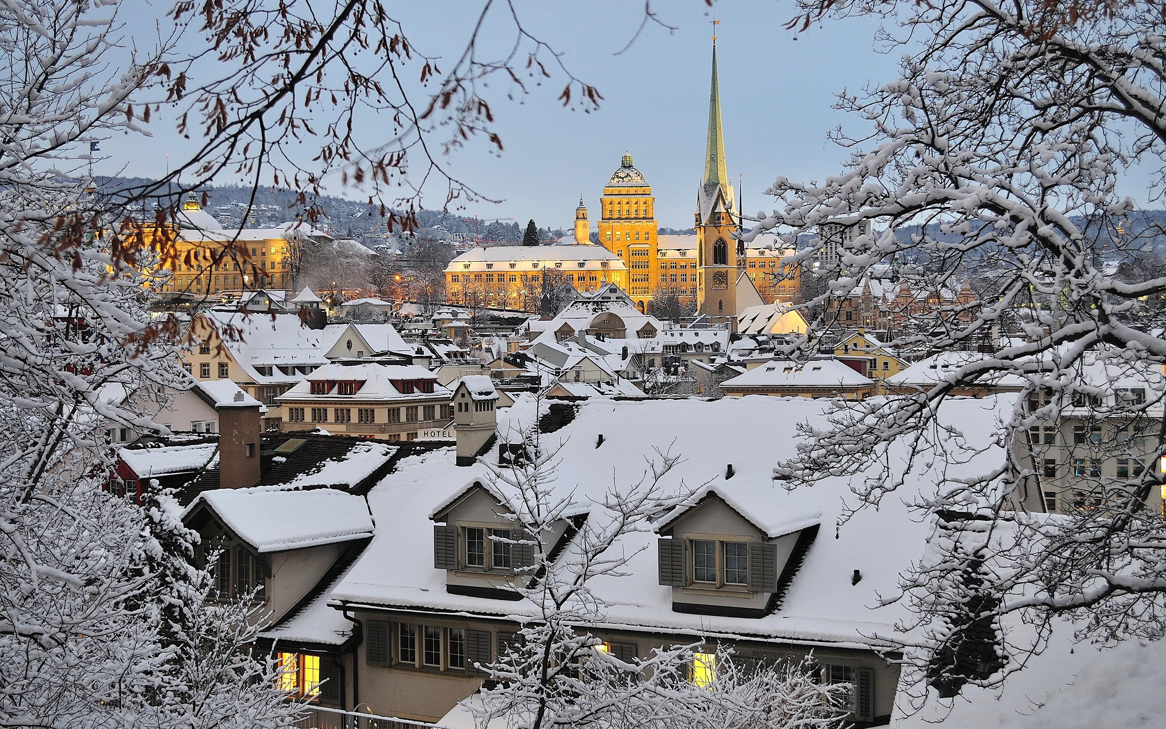 Обои швейцария, Switzerland, здания, крыши, Цюрих, дома. Города foto 6