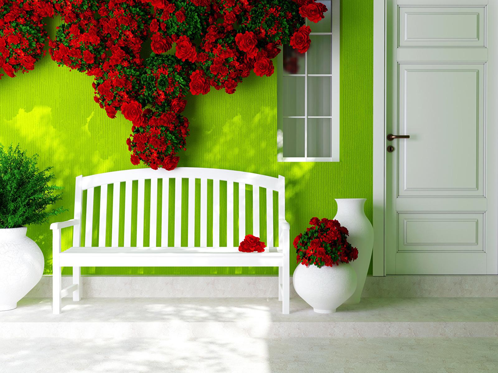 Картинки Розы красные Цветы двери Скамья 1600x1200 красных Красный красная Дверь Скамейка