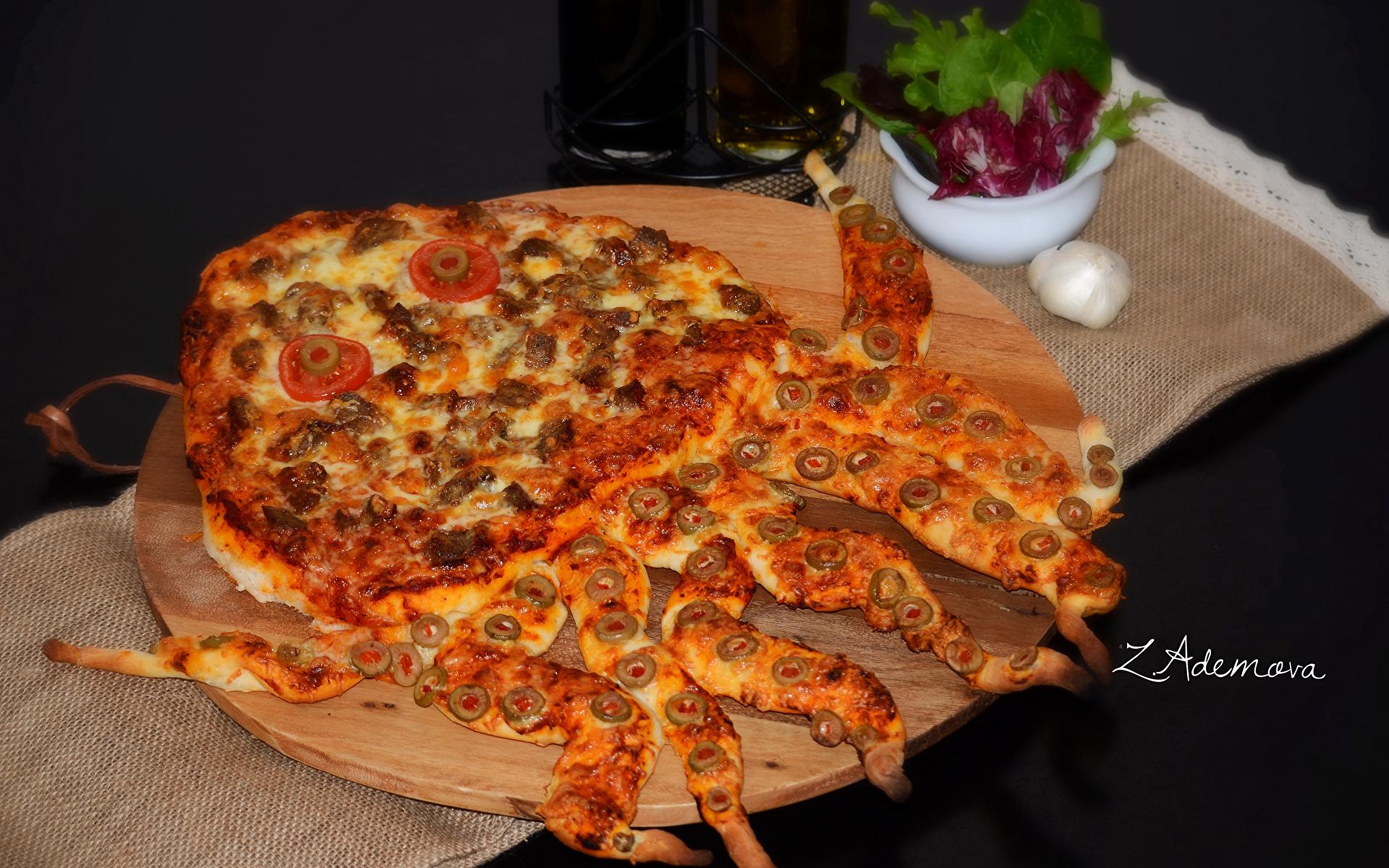 Фото Еда Пицца Быстрое питание Базилик душистый 1920x1200 Пища Продукты питания Фастфуд
