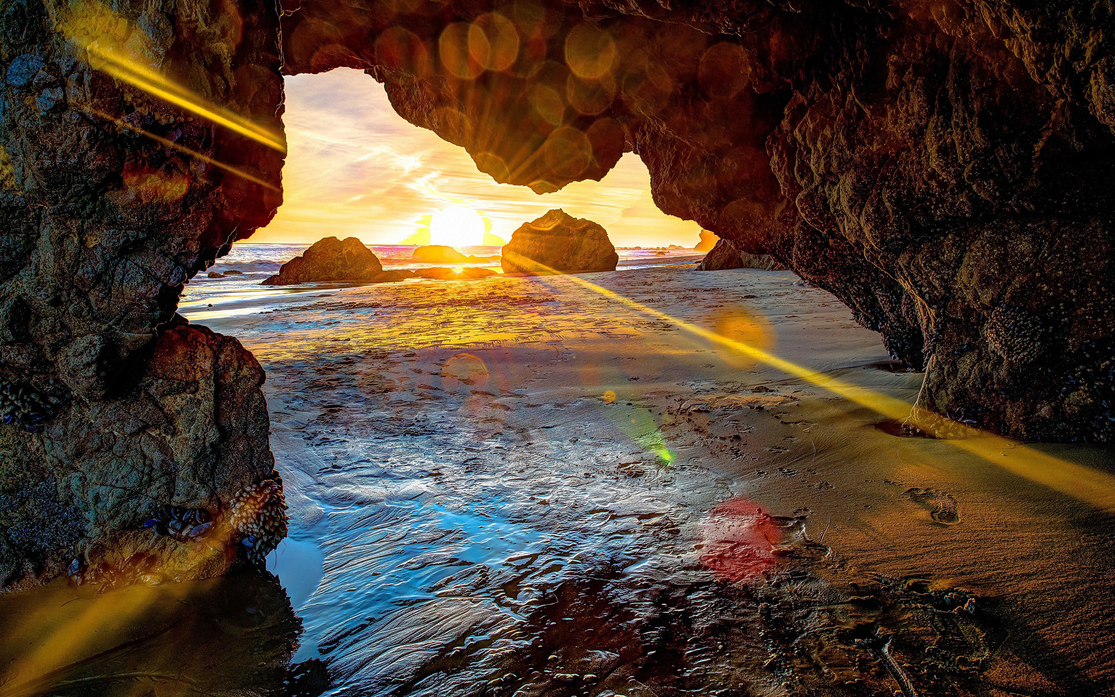 природа скалы море солнце облака отражение загрузить