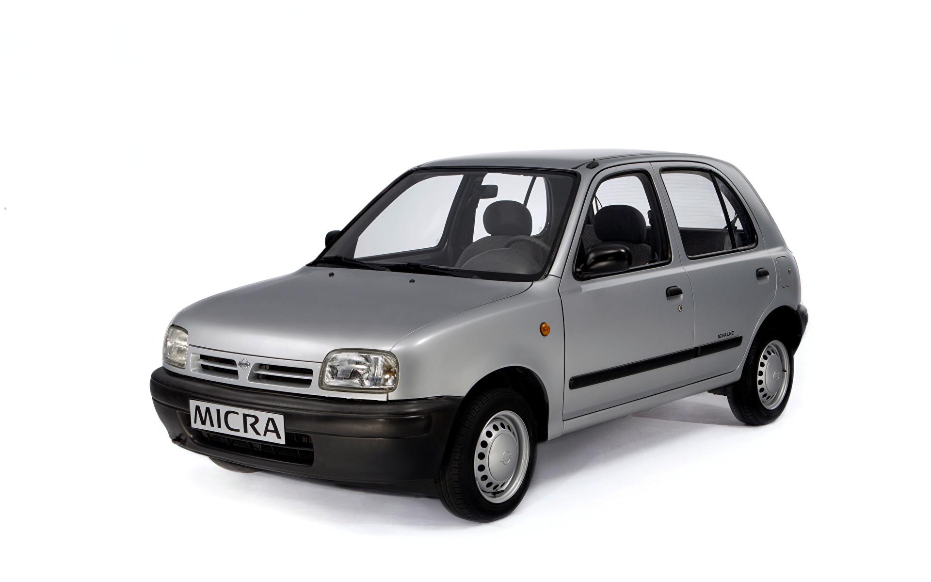 Картинки Nissan Micra 5-door (K11), 1992–97 серые авто Металлик Белый фон 1920x1200 Ниссан серая Серый машина машины Автомобили автомобиль белом фоне белым фоном