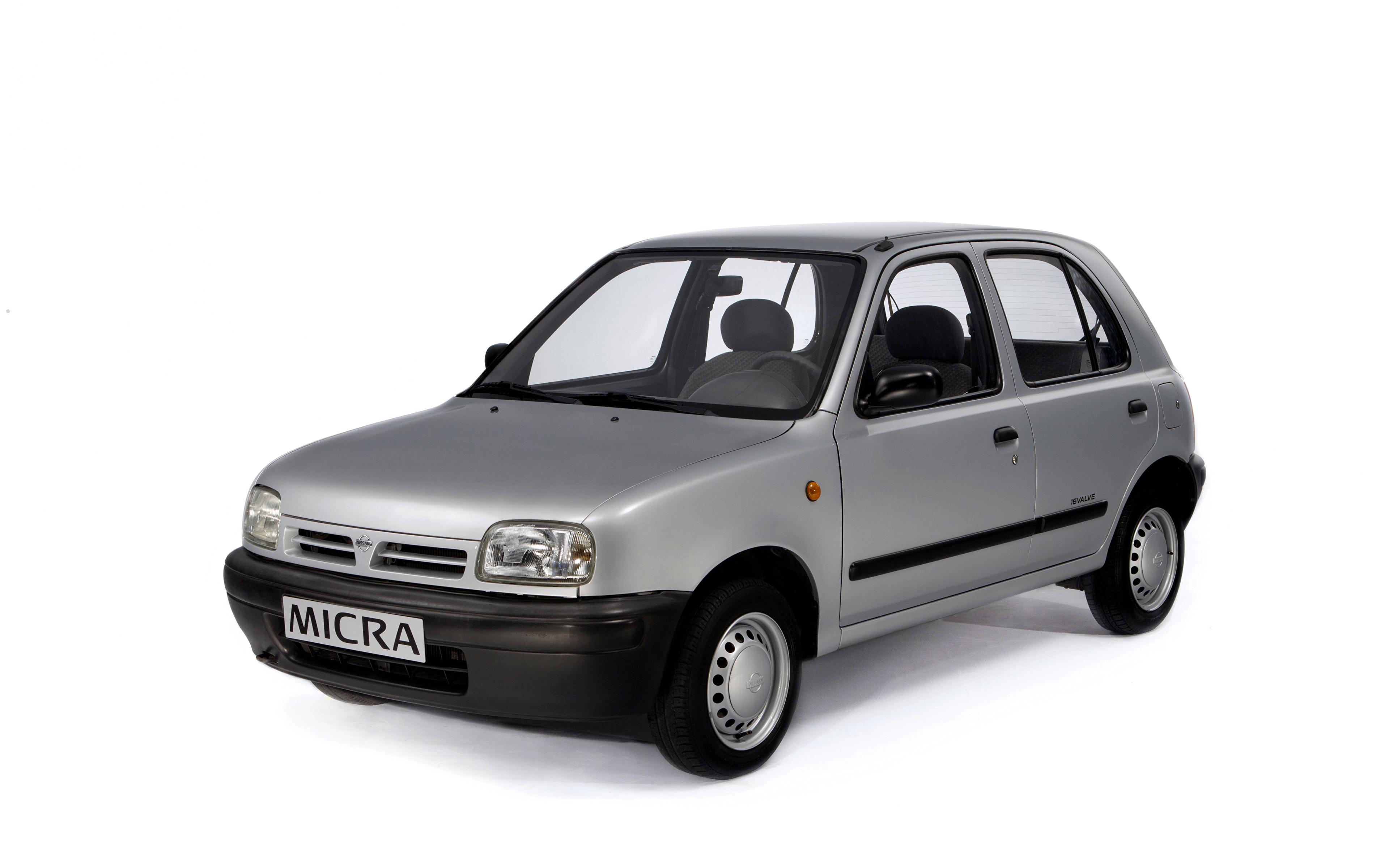 Картинки Nissan Micra 5-door (K11), 1992–97 серые авто Металлик Белый фон 3840x2400 Ниссан серая Серый машина машины Автомобили автомобиль белом фоне белым фоном
