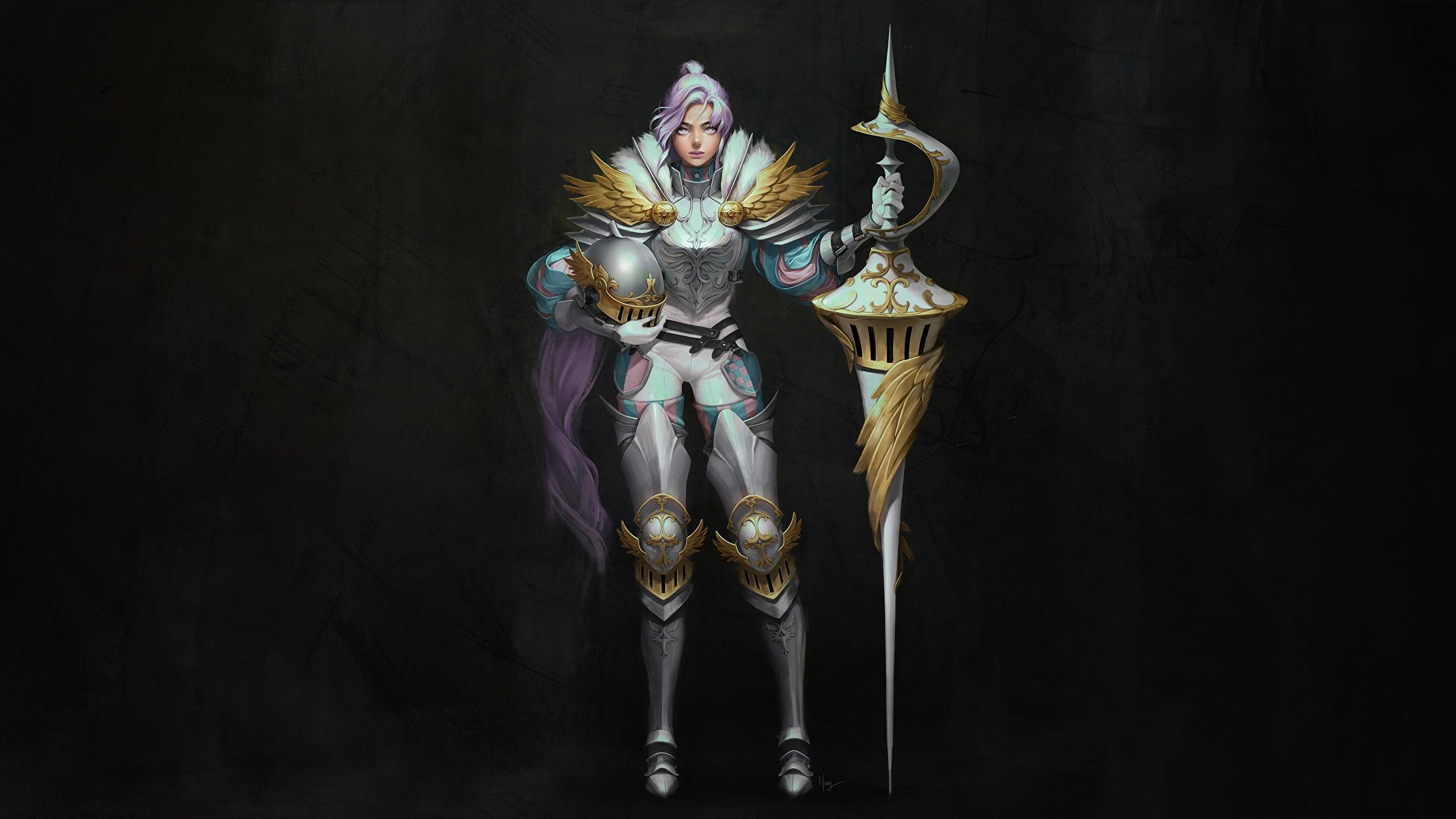Картинки Рыцарь с копьем воин Шлем Harang • Knight spears Девушки Фантастика 2560x1440 Копья воины шлема в шлеме Воители Фэнтези девушка молодая женщина молодые женщины