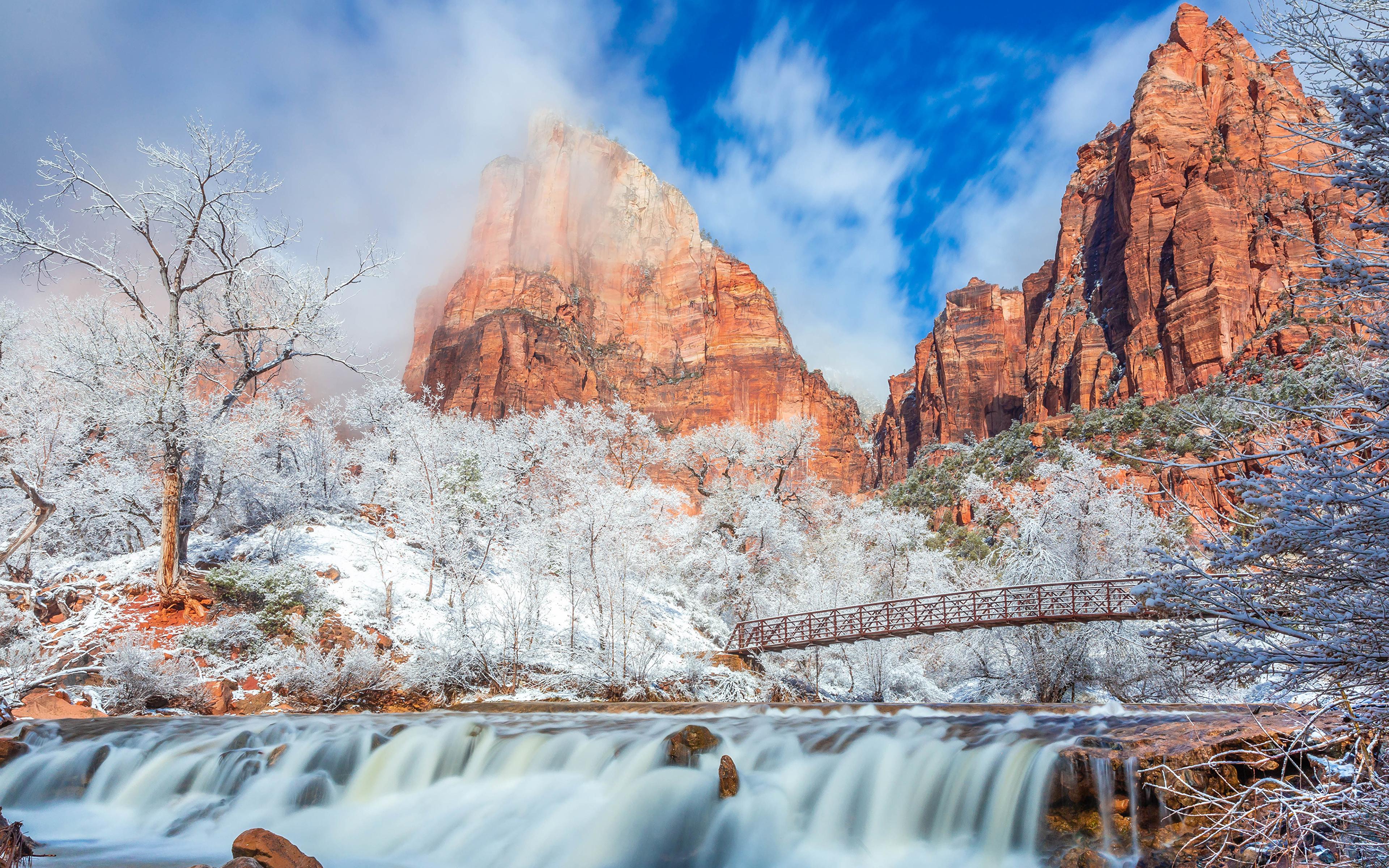 Фотографии Зайон национальнай парк США Горы Мосты зимние Природа Водопады парк 3840x2400 штаты америка мост Зима гора Парки