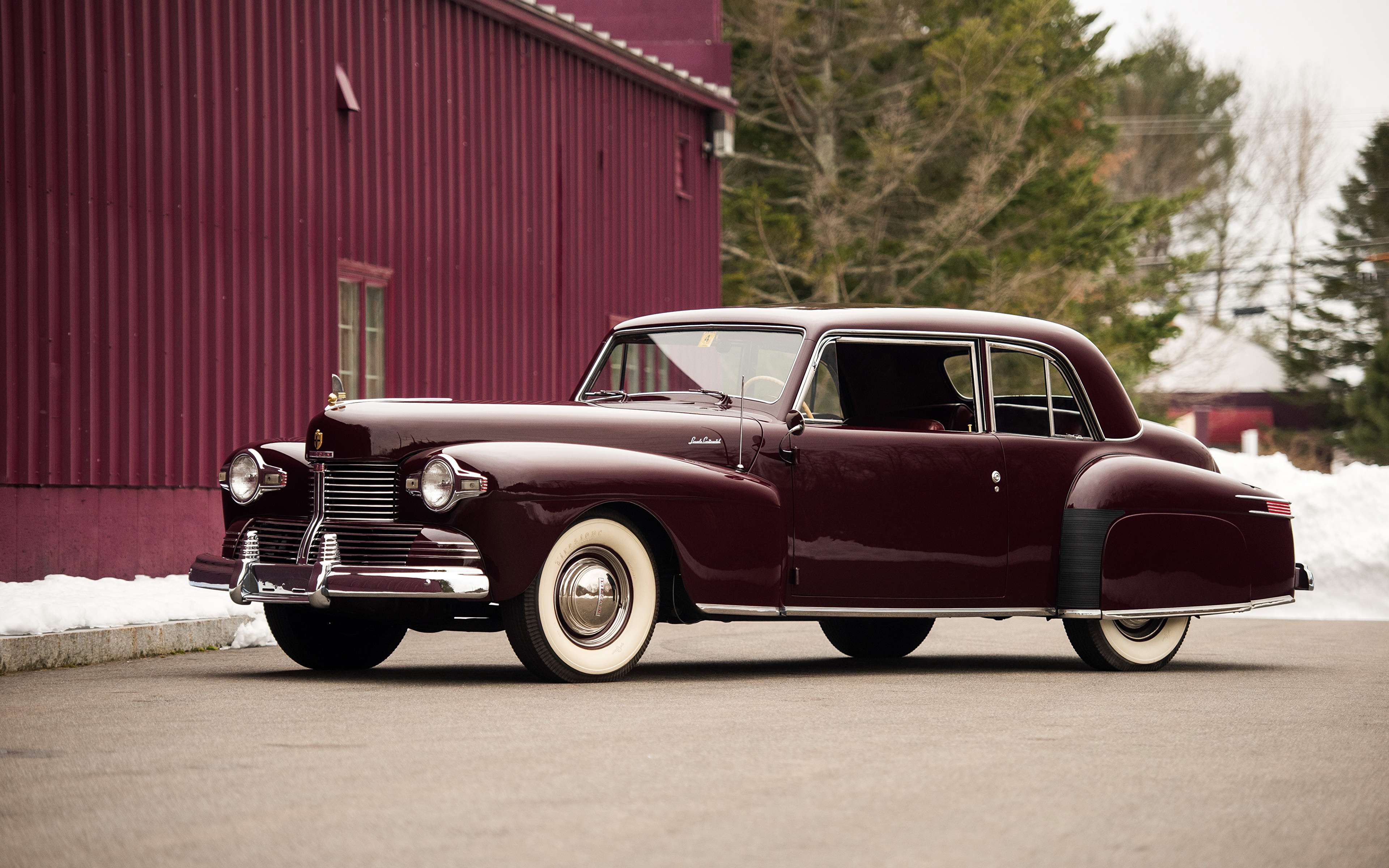 Картинка Lincoln 1942 Continental Coupe бордовая старинные авто Металлик 3840x2400 Ретро Винтаж бордовые Бордовый темно красный машина машины автомобиль Автомобили