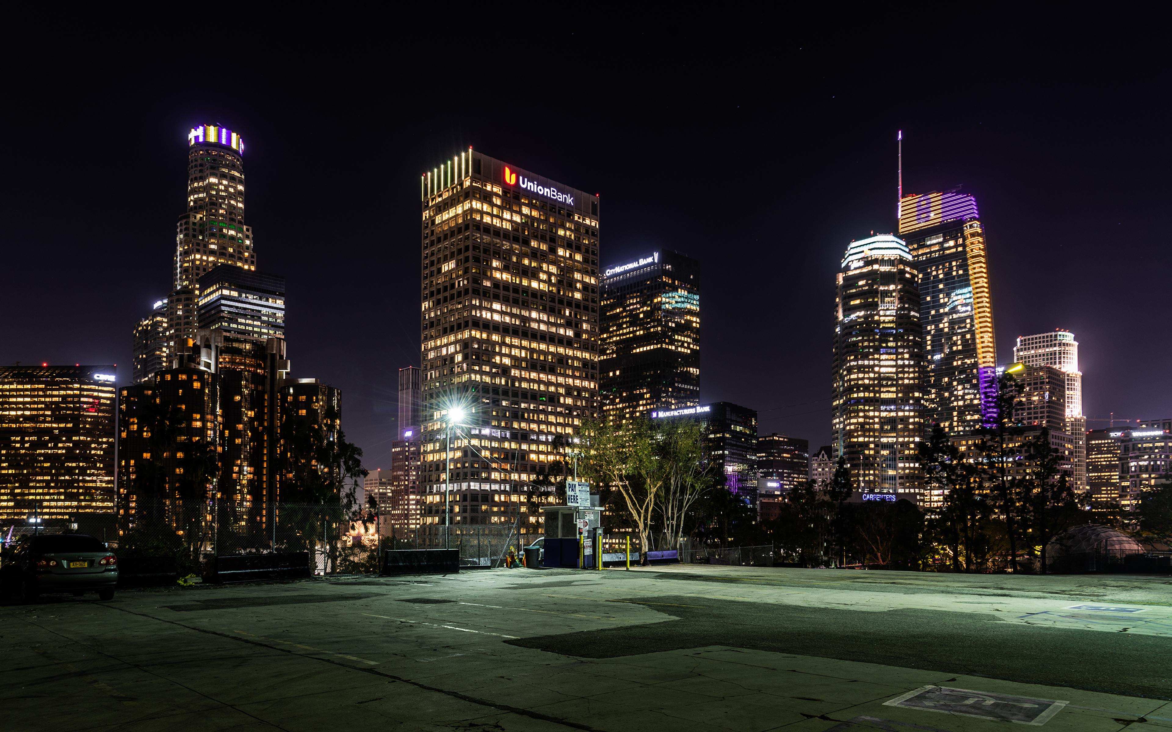 Обои для рабочего стола Лос-Анджелес США Вечер Уличные фонари Дома Города 3840x2400 штаты америка город Здания