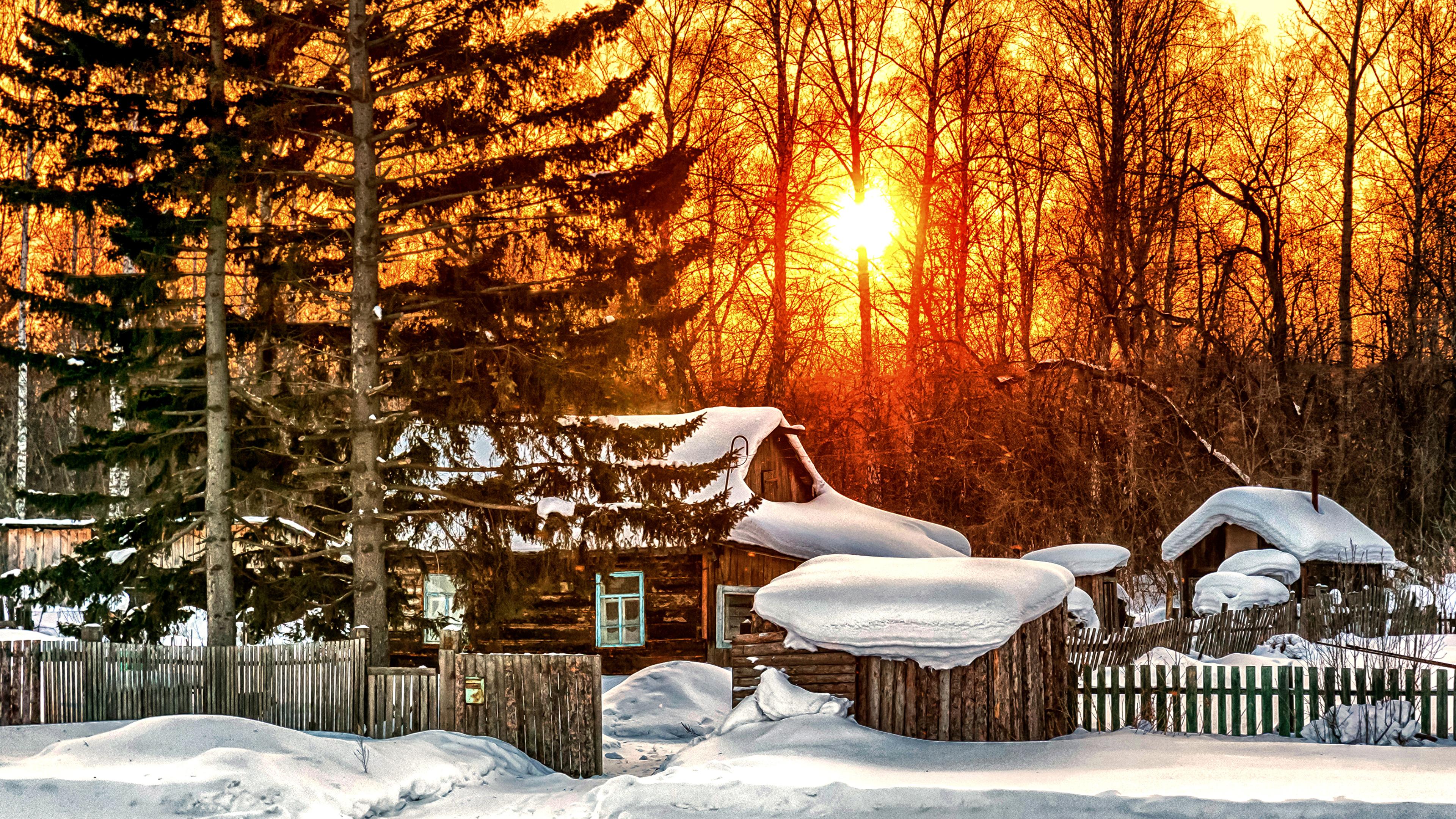 природа снег деревья дом nature snow trees the house загрузить