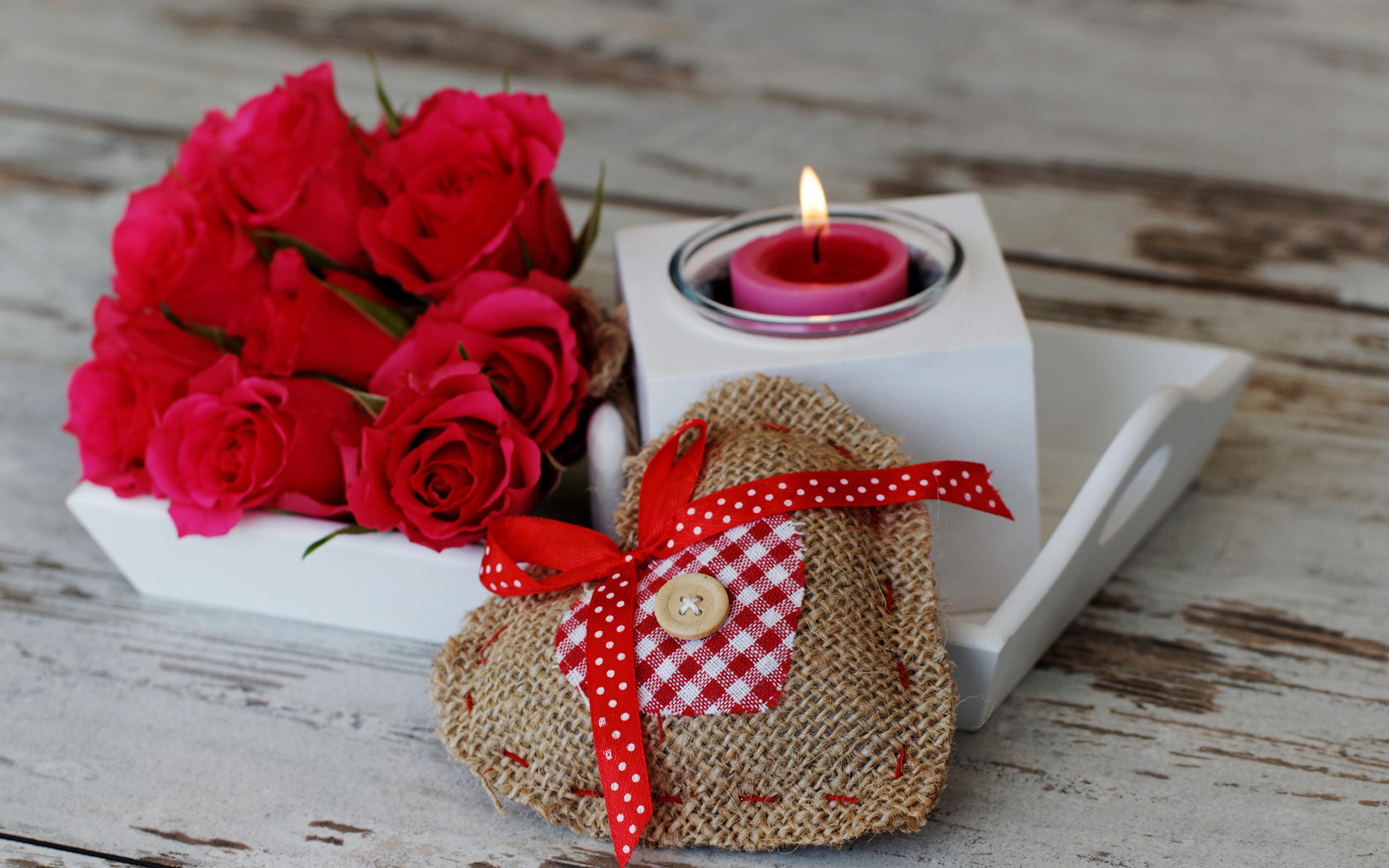 Обои для рабочего стола День святого Валентина сердечко букет Розы красная Свечи Бантик 3840x2400 День всех влюблённых серце Сердце сердца Букеты роза Красный красные красных бант бантики