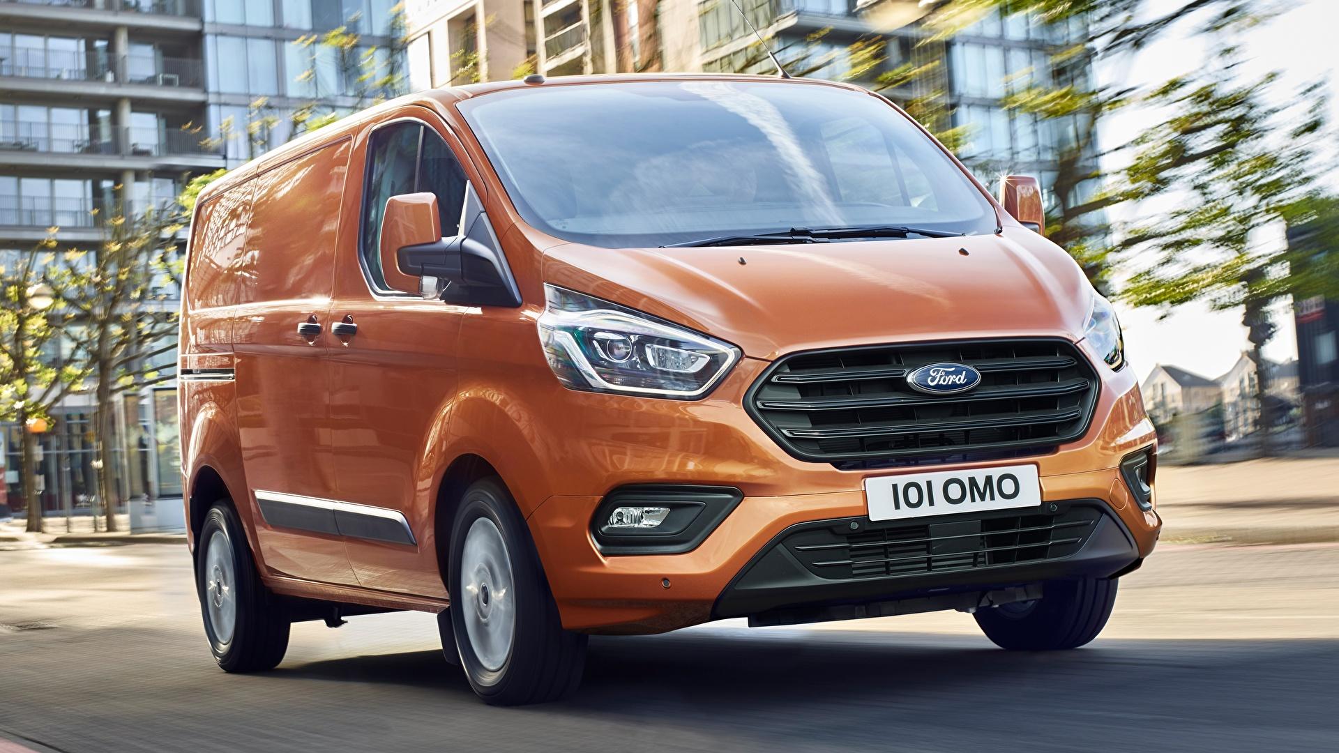 Фотографии Форд Transit Custom, 2017 Фургон оранжевых Автомобили 1920x1080 Ford оранжевая оранжевые Оранжевый авто машины машина автомобиль