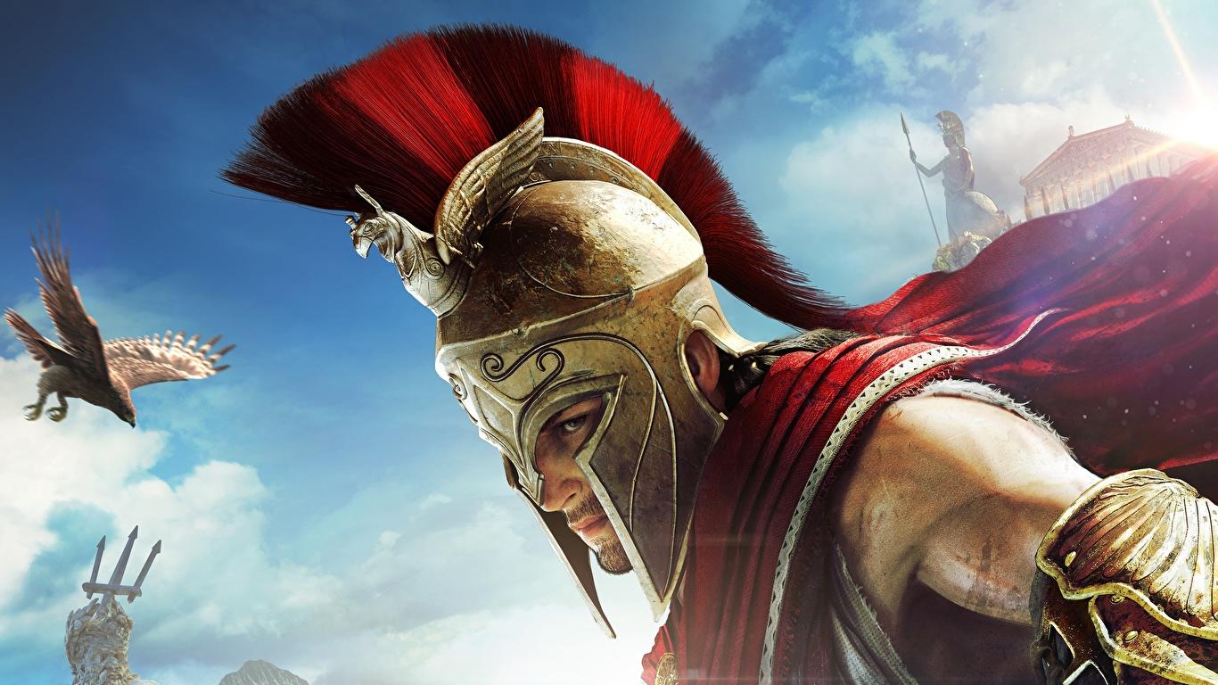 Фото Assassin's Creed Odyssey воины шлема Игры 1366x768 воин Шлем в шлеме Воители компьютерная игра
