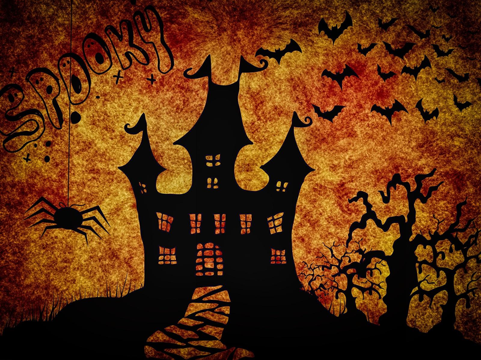 Обои для рабочего стола Замки Праздники силуэта Летучие мыши хэллоуин 1600x1200 замок Силуэт силуэты Хеллоуин