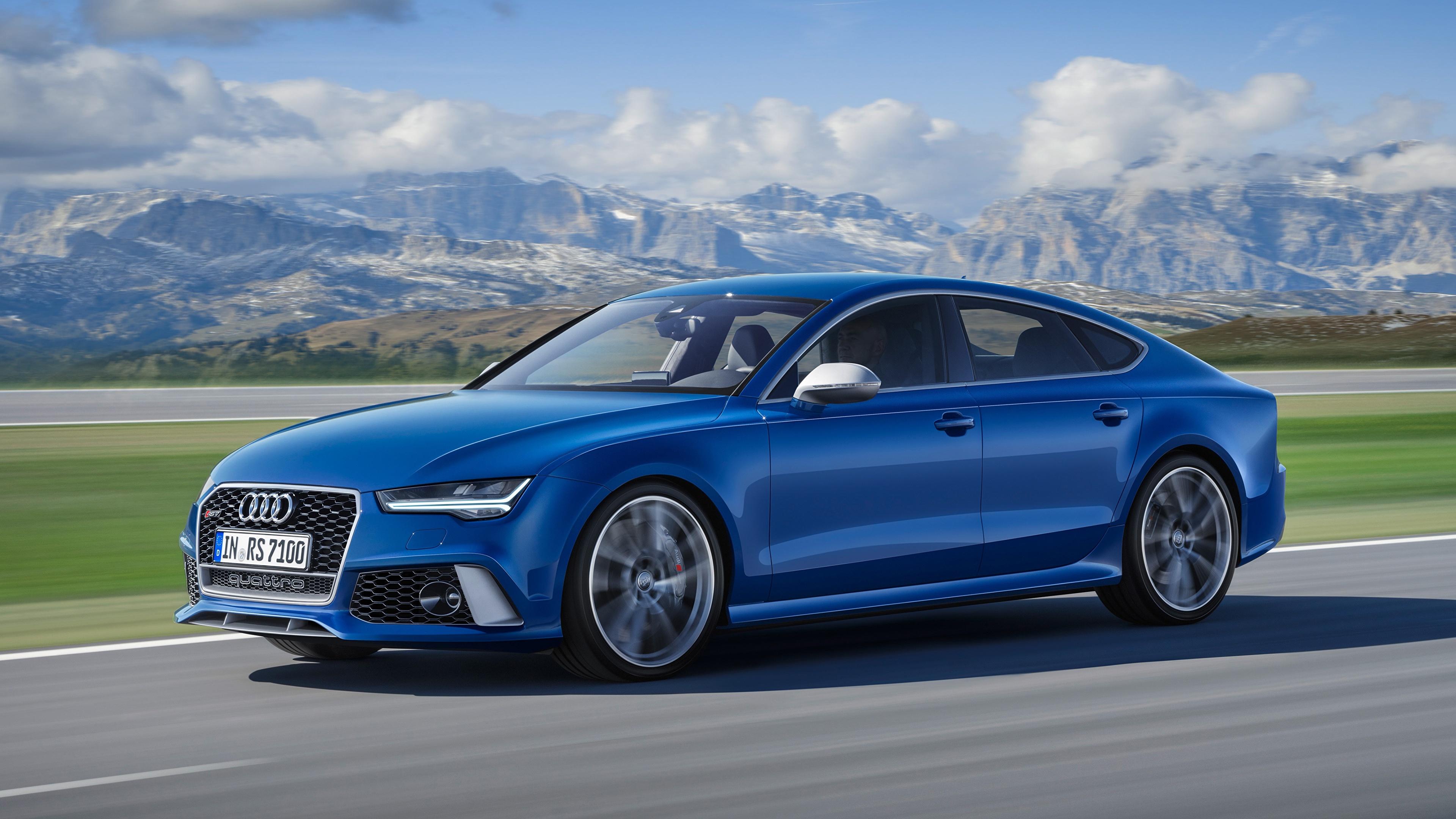Картинки Audi Размытый фон Синий скорость Сбоку Автомобили 3840x2160 Ауди боке синяя синие синих едет едущий едущая Движение авто машины машина автомобиль
