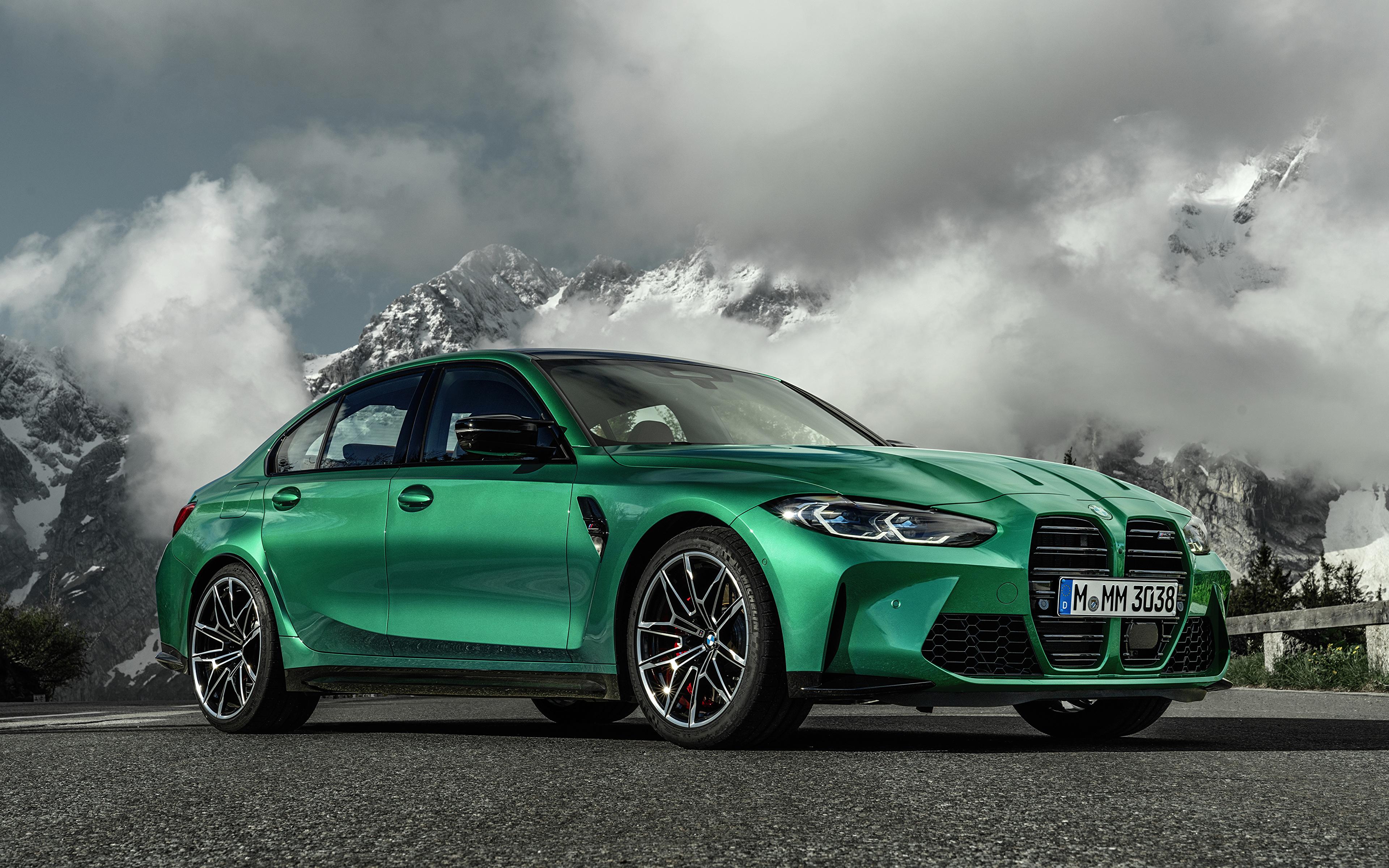 Фотографии БМВ M3 Competition, (G80), 2020 Зеленый Металлик Автомобили 3840x2400 BMW зеленая зеленые зеленых авто машины машина автомобиль