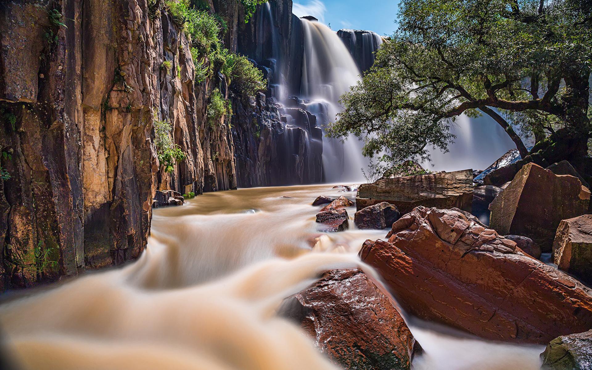 Картинка Мексика Cascada de la Concepcion Aculco Природа Водопады Реки Камни 1920x1200 река речка Камень