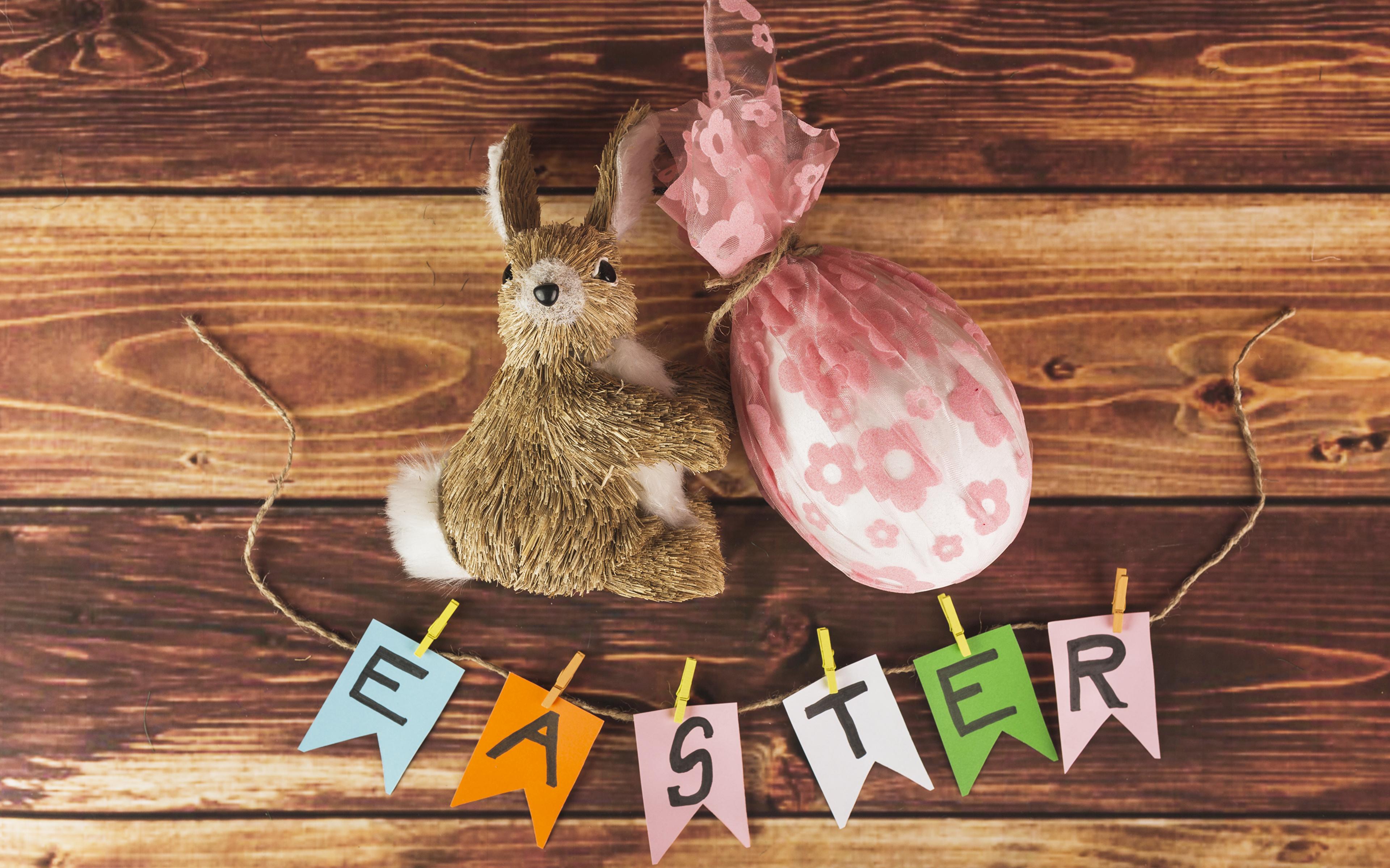 Картинка Пасха Кролики английская Яйца Доски 3840x2400 кролик инглийские Английский яиц яйцо яйцами