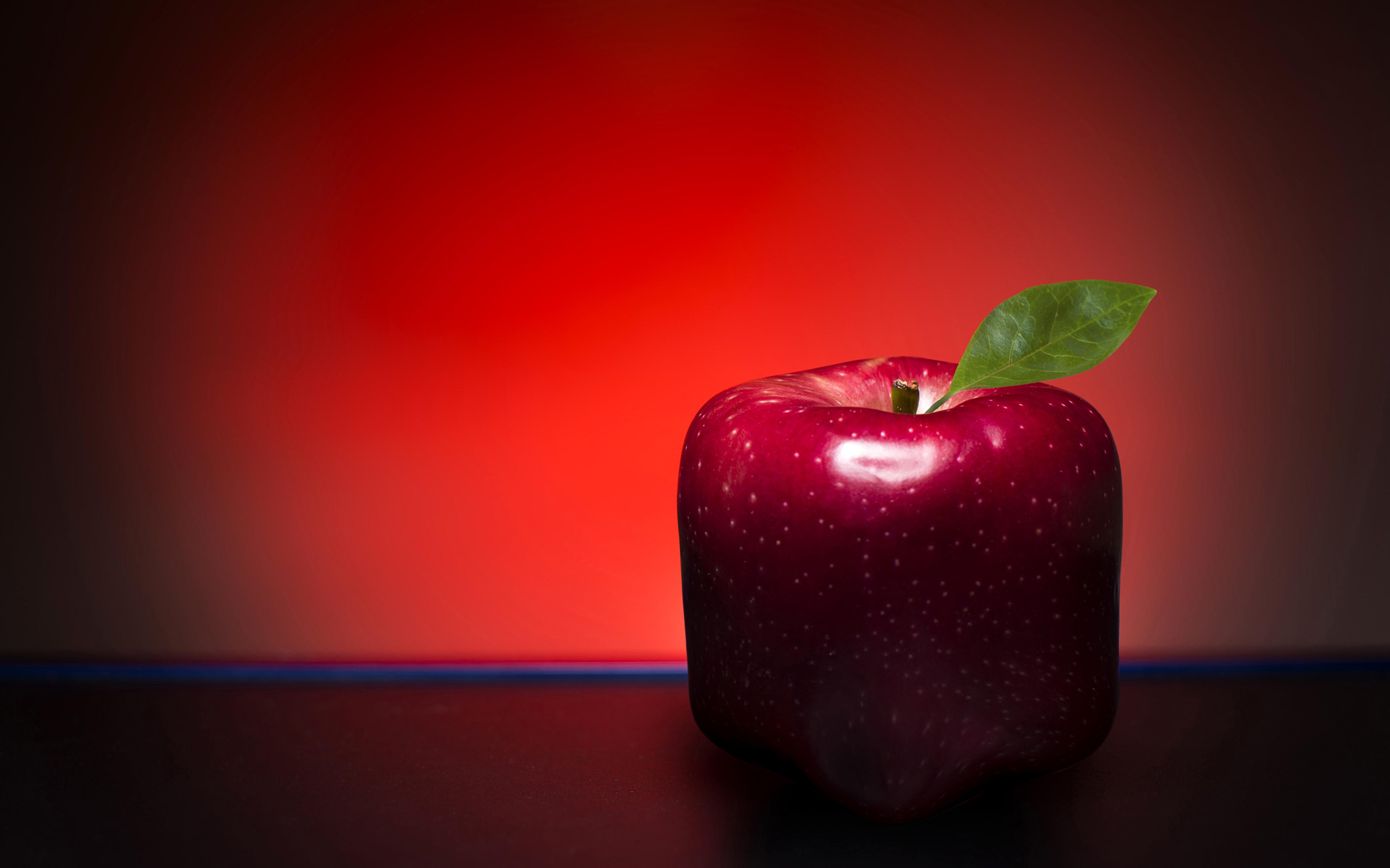 Обои для рабочего стола красная Яблоки оригинальные Пища Крупным планом 3840x2400 красных красные Красный Креатив креативные Еда Продукты питания вблизи