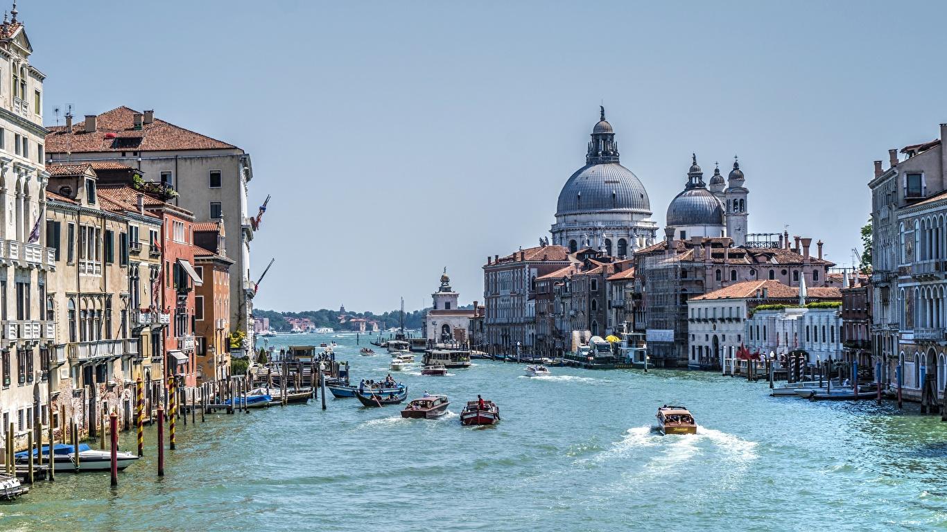 Обои дома, grand canal, водный канал, катера, венеция. Города foto 6