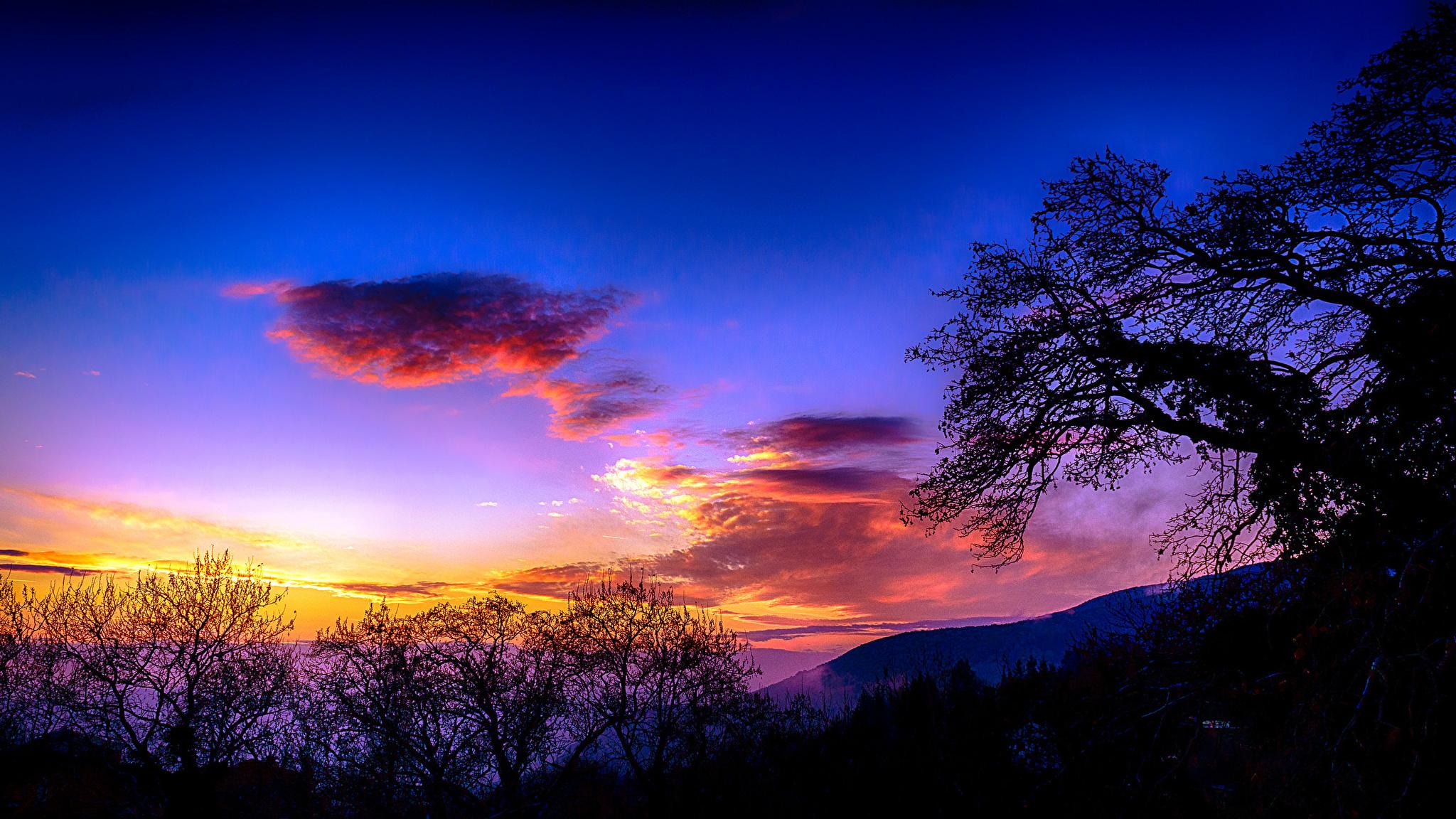 закат небо горы деревья онлайн