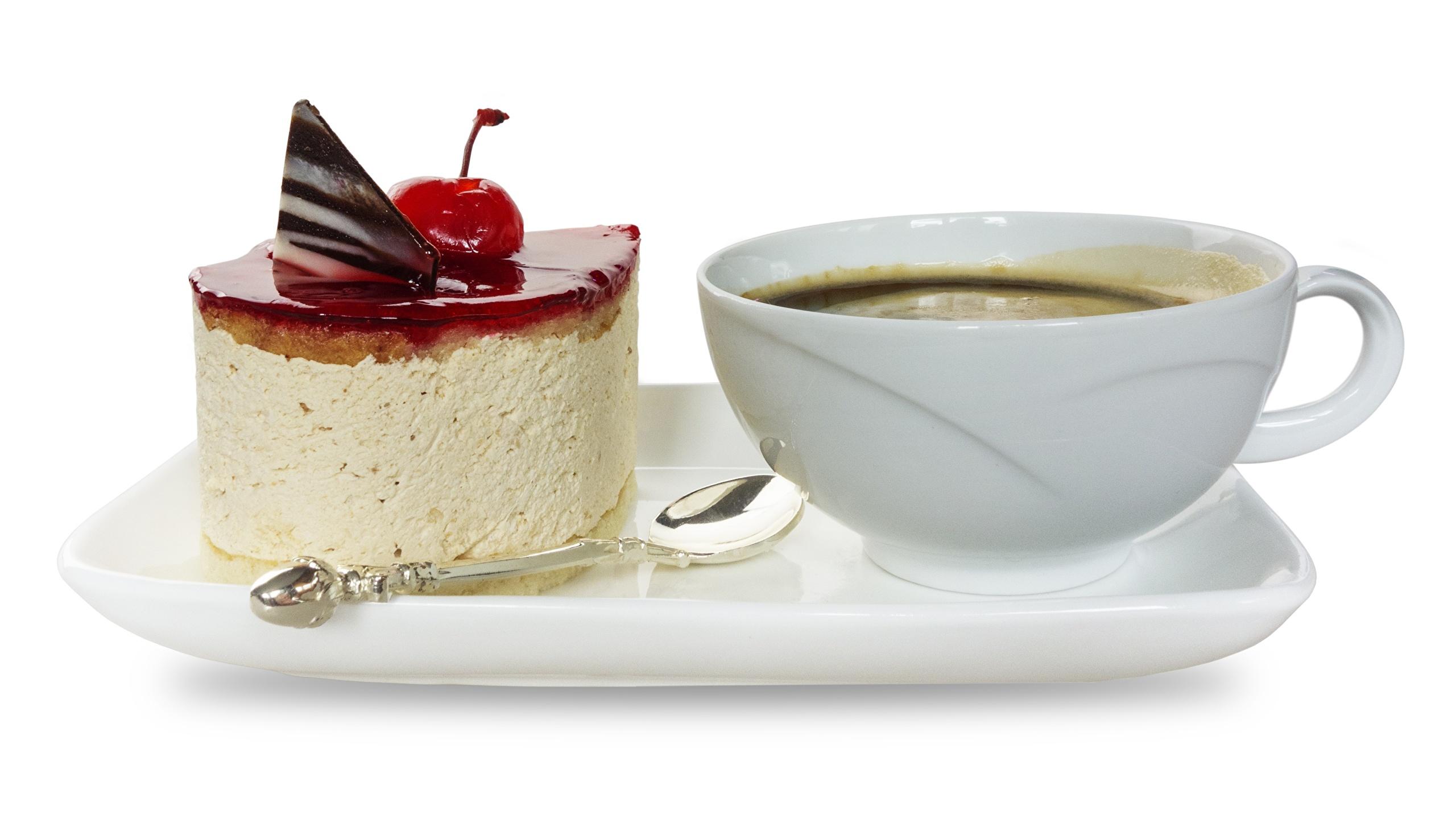 Обои Кофе Торты Завтрак Десерт Пища чашке Белый фон 2560x1440 Еда Чашка Продукты питания белом фоне белым фоном