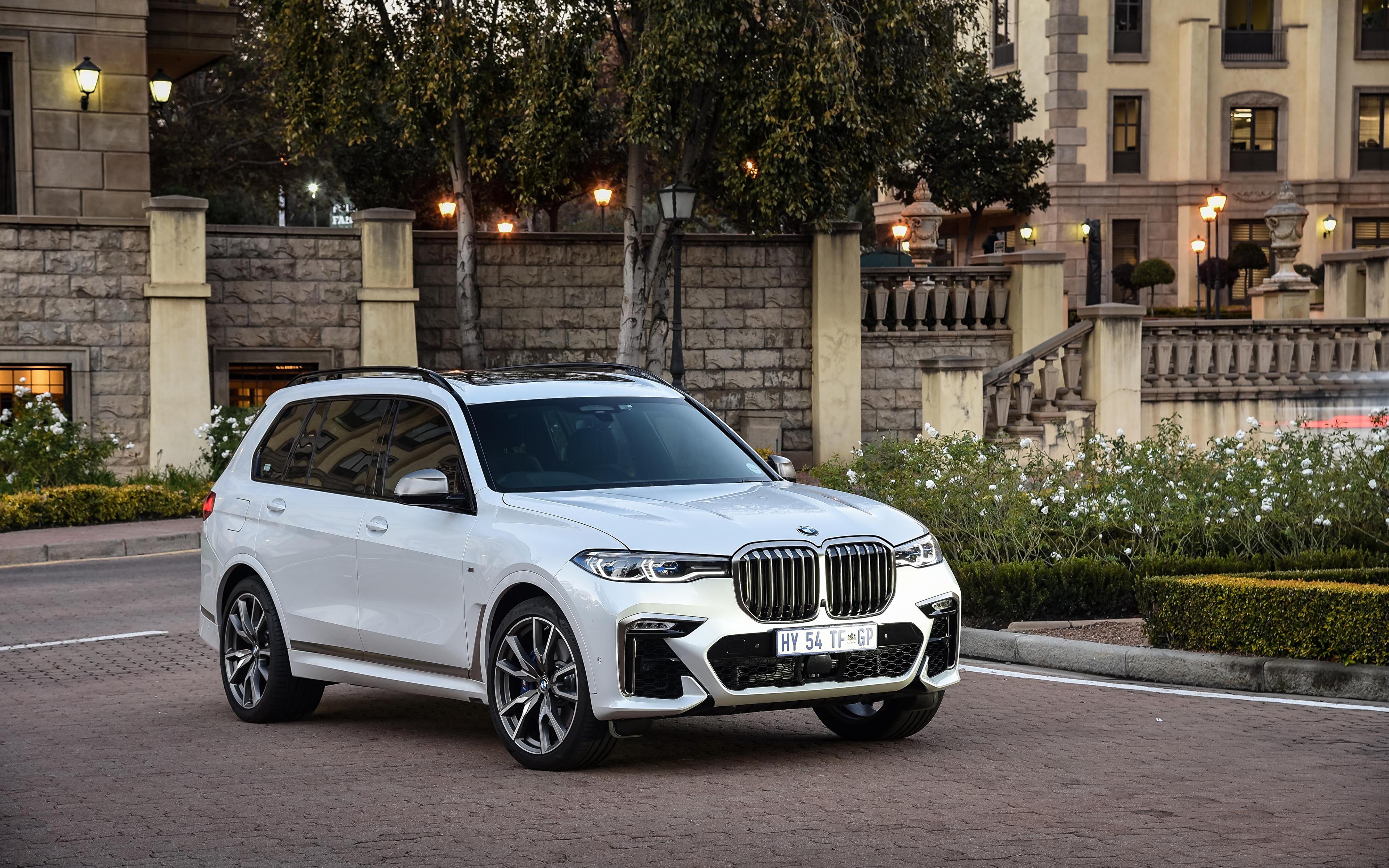 Картинка BMW Кроссовер 2019 X7 M50d Белый машина Металлик 3840x2400 БМВ CUV белая белые белых авто машины Автомобили автомобиль