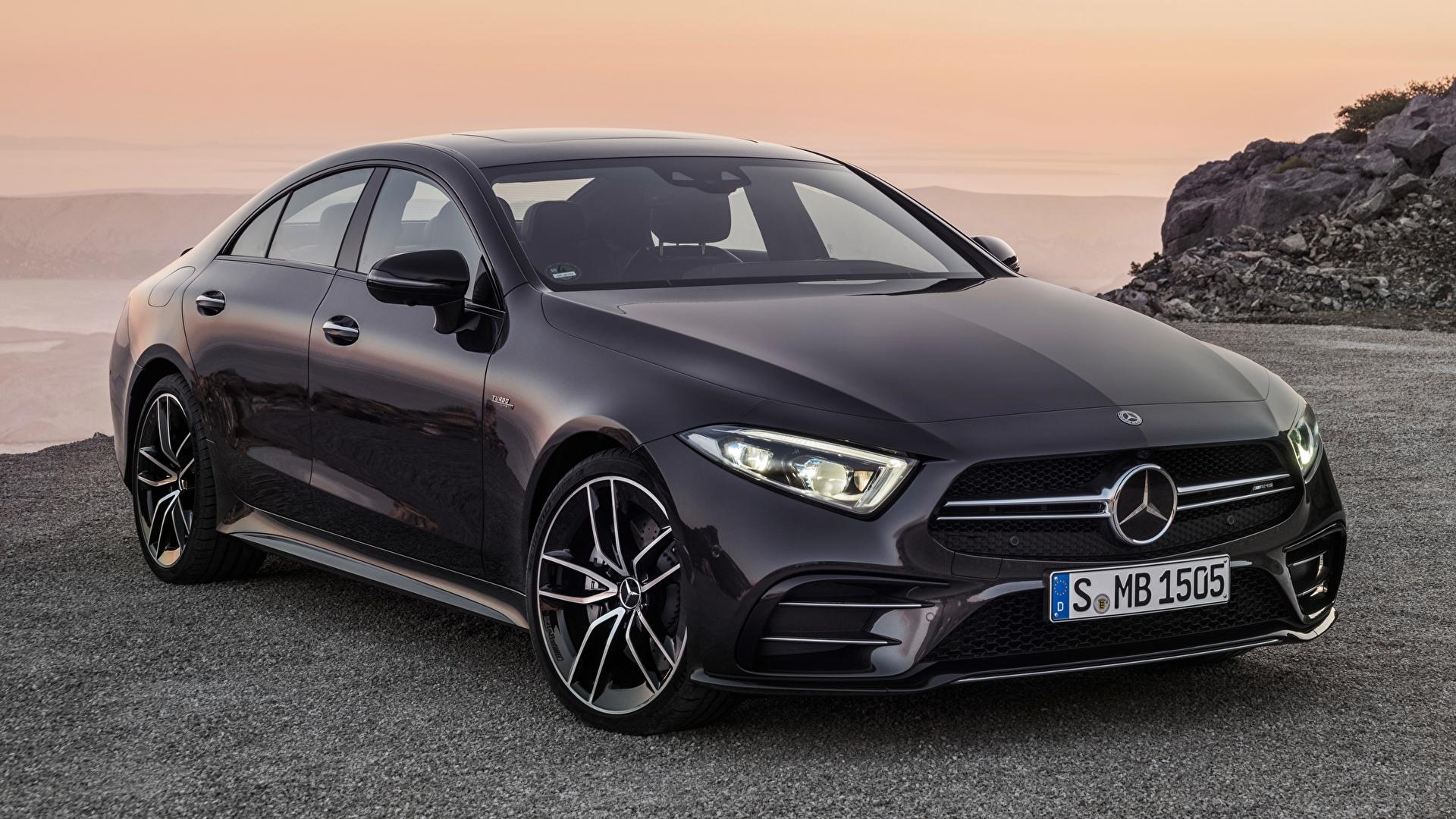 Картинка Mercedes-Benz AMG, CLS, 53 4MATIC, 2018 Седан Черный машина Металлик 1920x1080 Мерседес бенц черная черные черных авто машины Автомобили автомобиль
