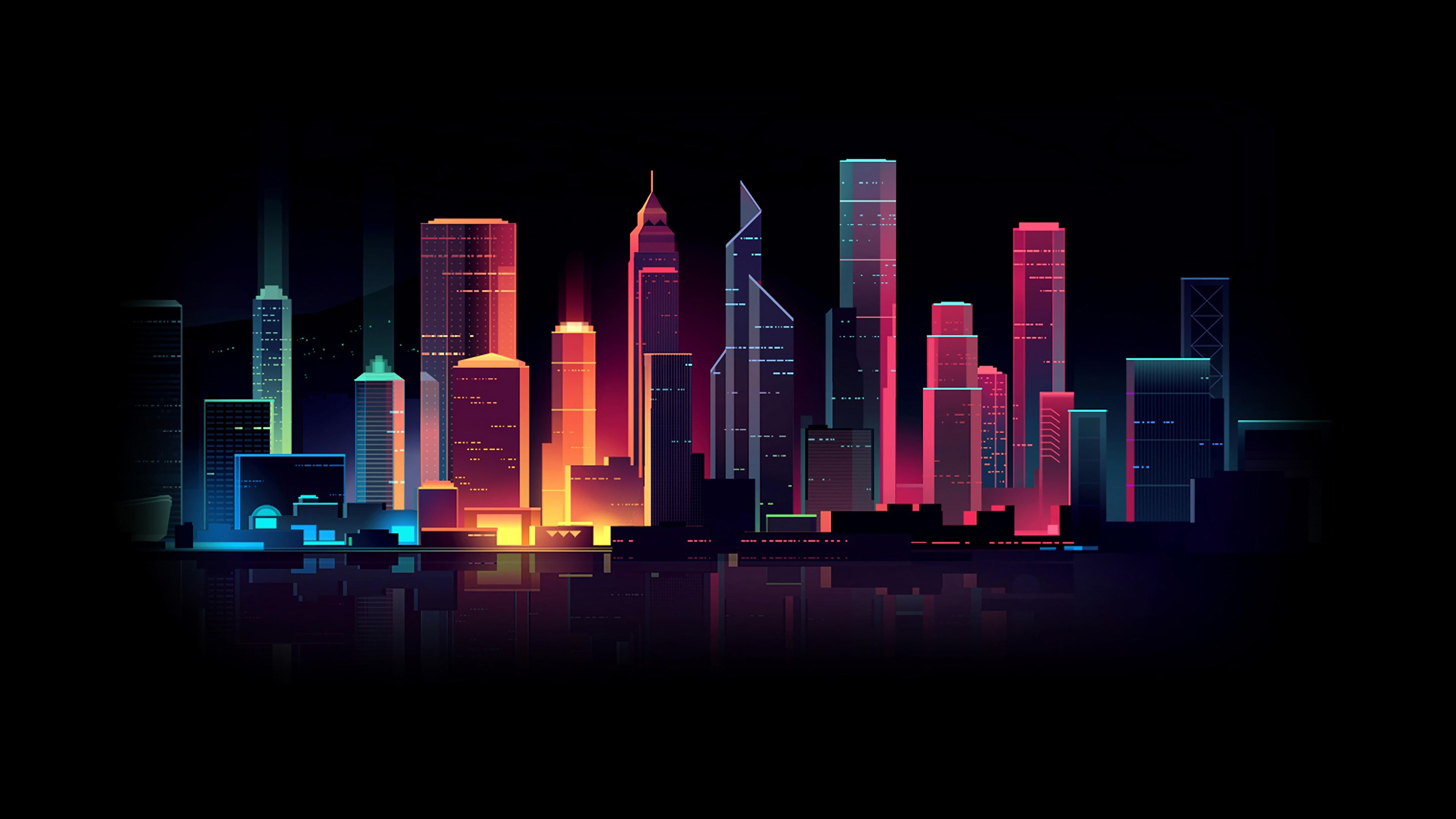 Картинки Синтвейв by Romain Trystram ночью Небоскребы город Здания 3840x2160 Ретровейв Ночь в ночи Ночные Дома Города