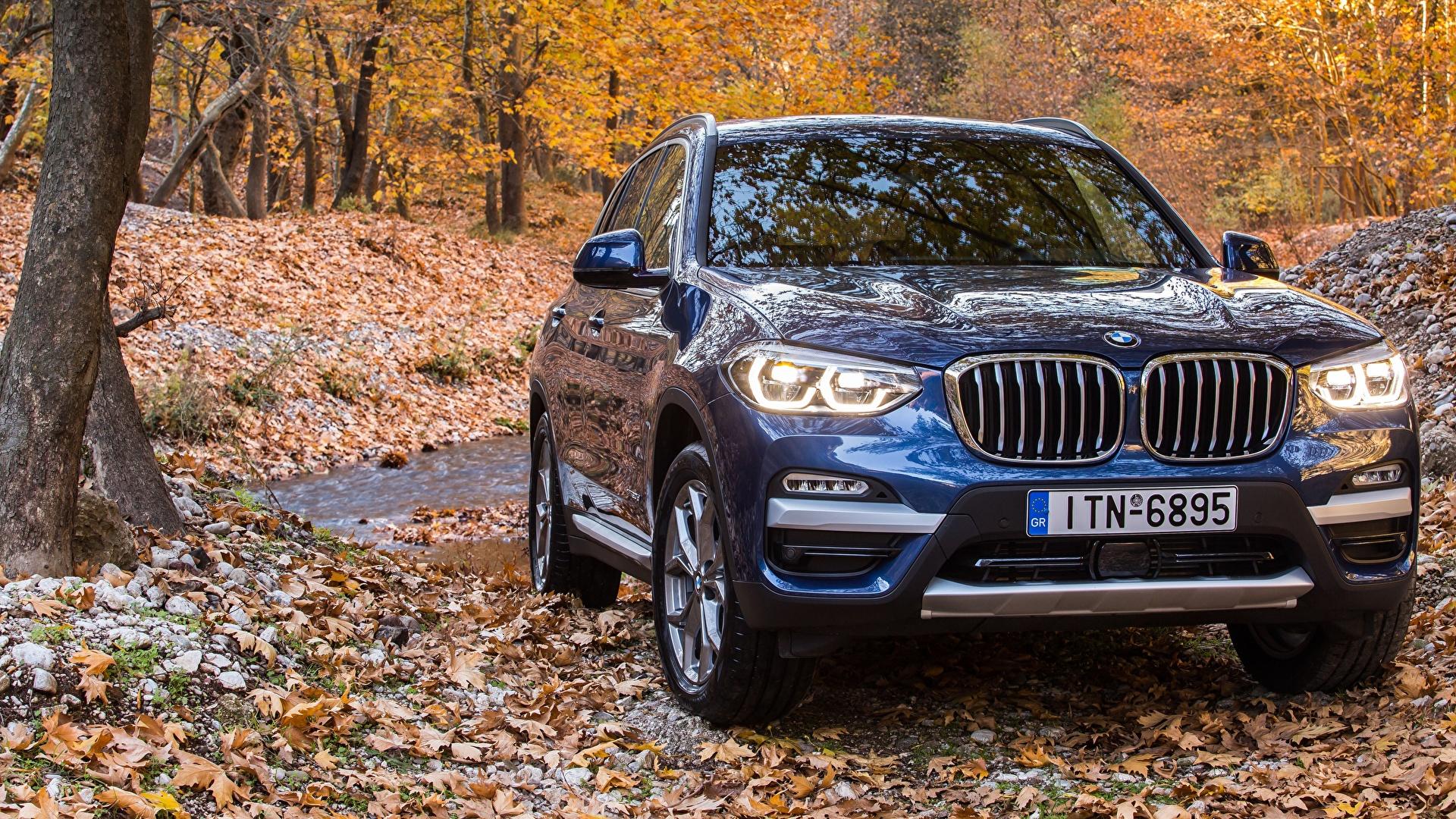 Фотографии BMW 2017 xLine X3 xDrive20d Синий Спереди Автомобили 1920x1080 БМВ синяя синие синих авто машины машина автомобиль