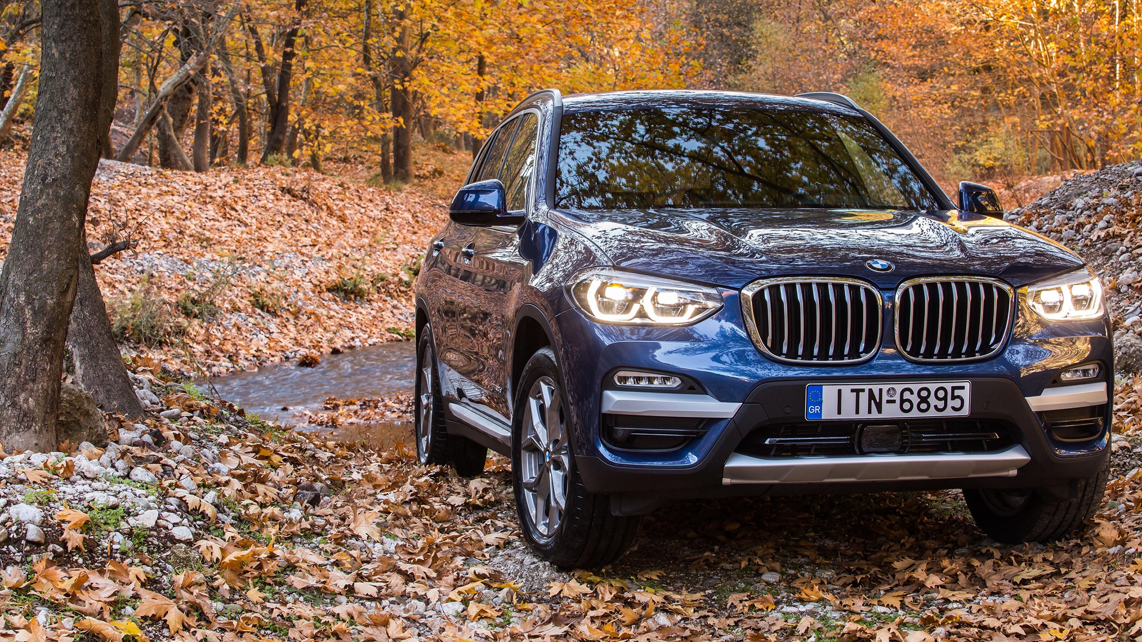 Фотографии BMW 2017 xLine X3 xDrive20d Синий Спереди Автомобили 3840x2160 БМВ синяя синие синих авто машины машина автомобиль