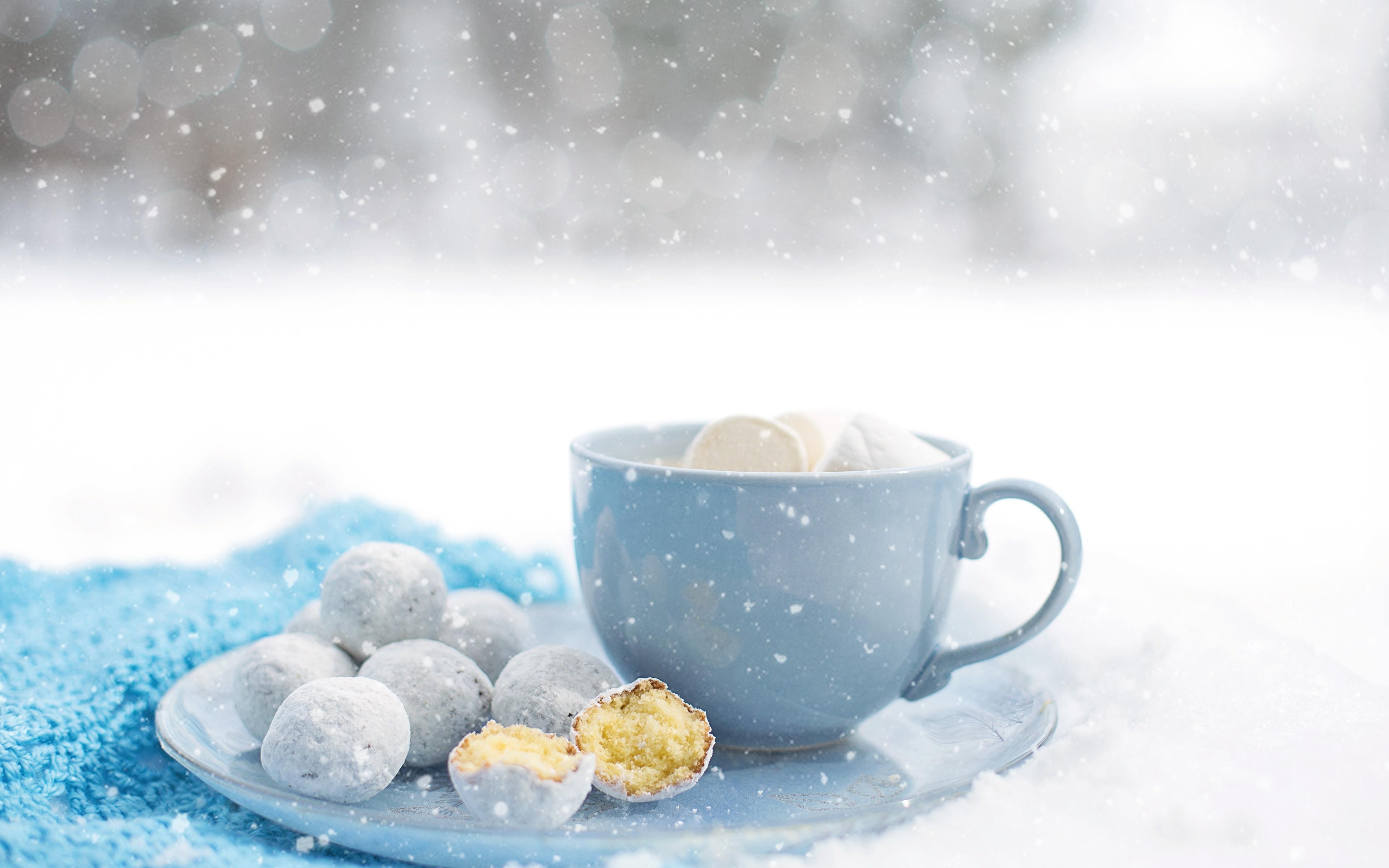 Картинка снежинка Еда чашке Печенье 3840x2400 Снежинки Пища Чашка Продукты питания