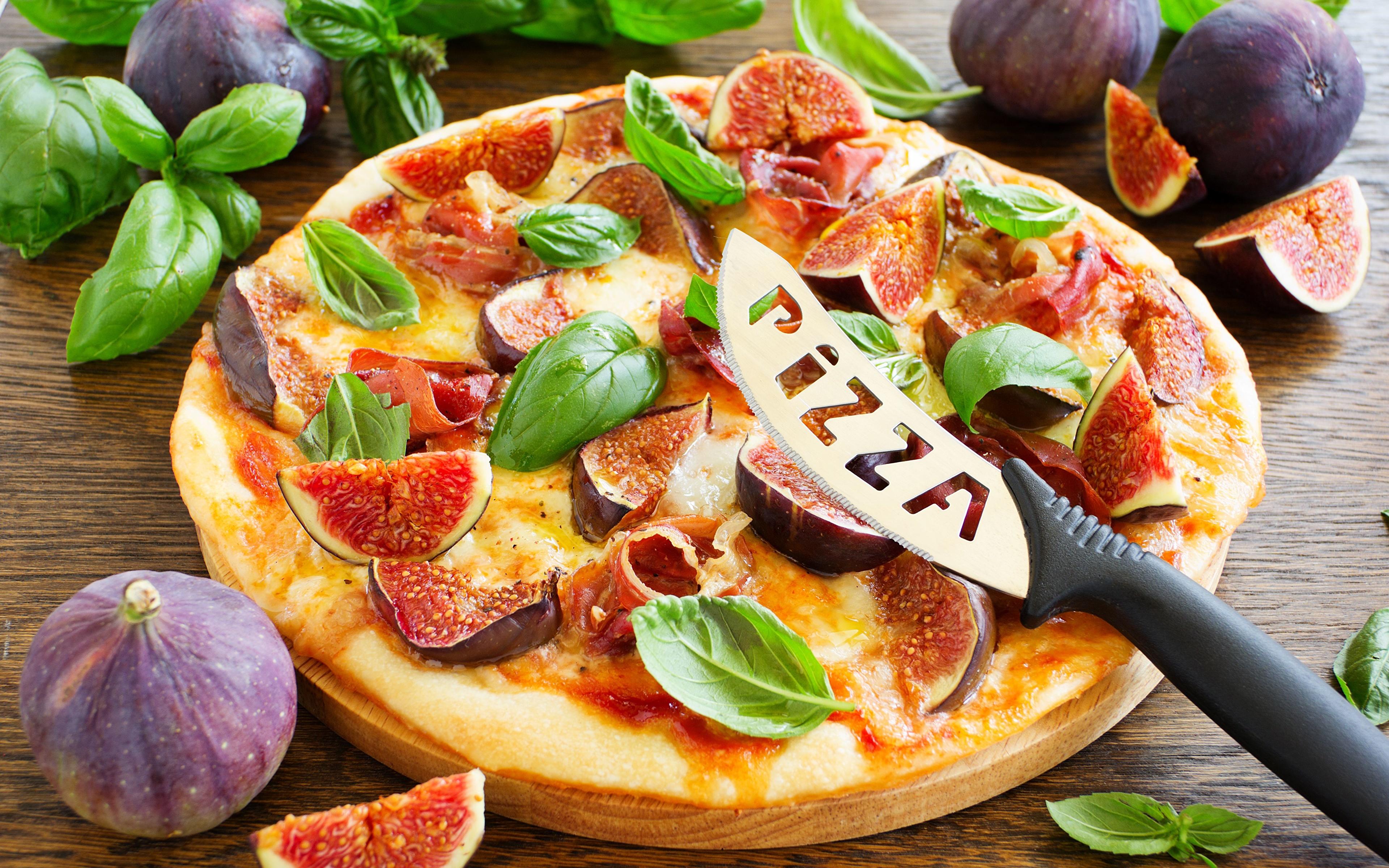 Фотография Еда Инжир Пицца Базилик душистый 3840x2400 Пища Продукты питания