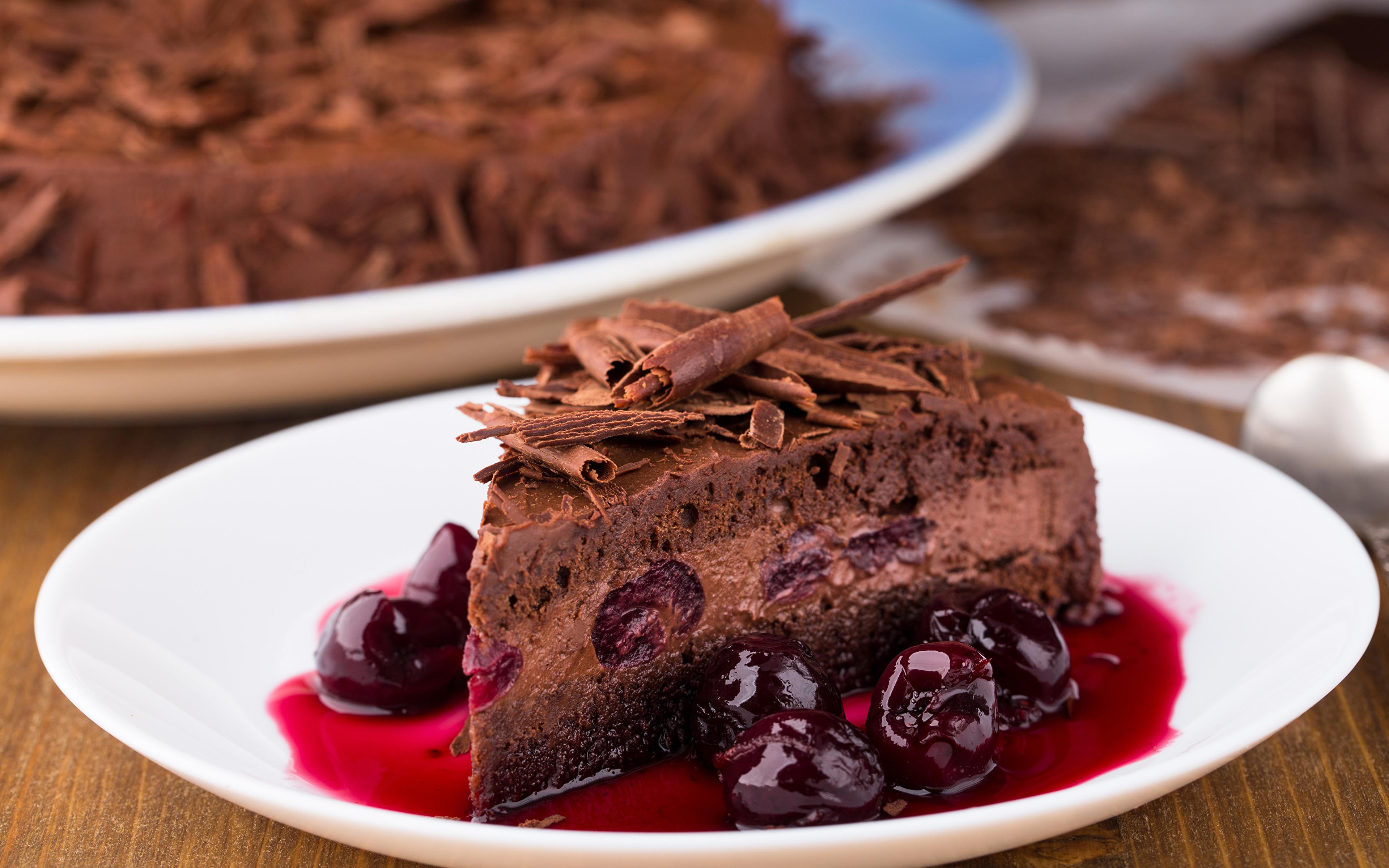 Картинки Шоколад Торты Кусок Вишня Пища 3840x2400 часть кусочки кусочек Черешня Еда Продукты питания