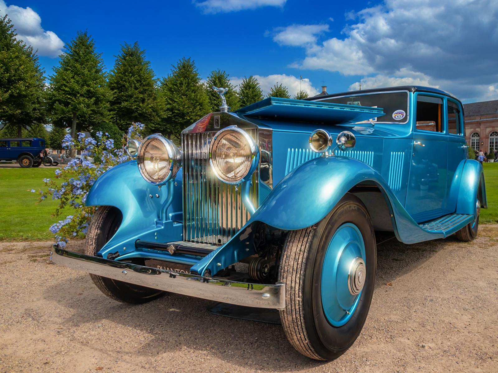 Фотография Rolls-Royce 1933 Phantom II Continental винтаж Голубой машины 1600x1200 Роллс ройс Ретро голубая голубые голубых старинные авто машина Автомобили автомобиль