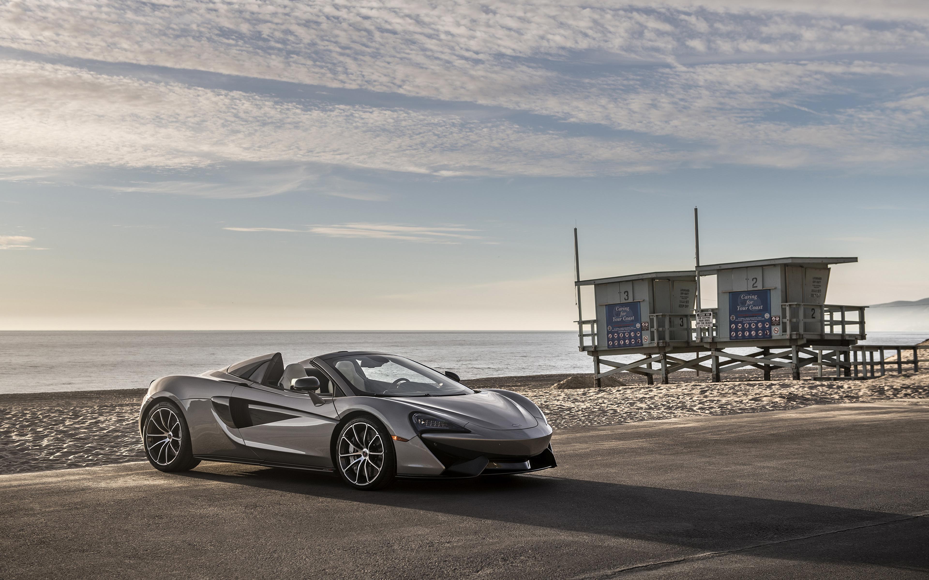 Обои для рабочего стола Макларен 2018 570S Spider Родстер Серый Автомобили 3840x2400 McLaren серые серая авто машина машины автомобиль