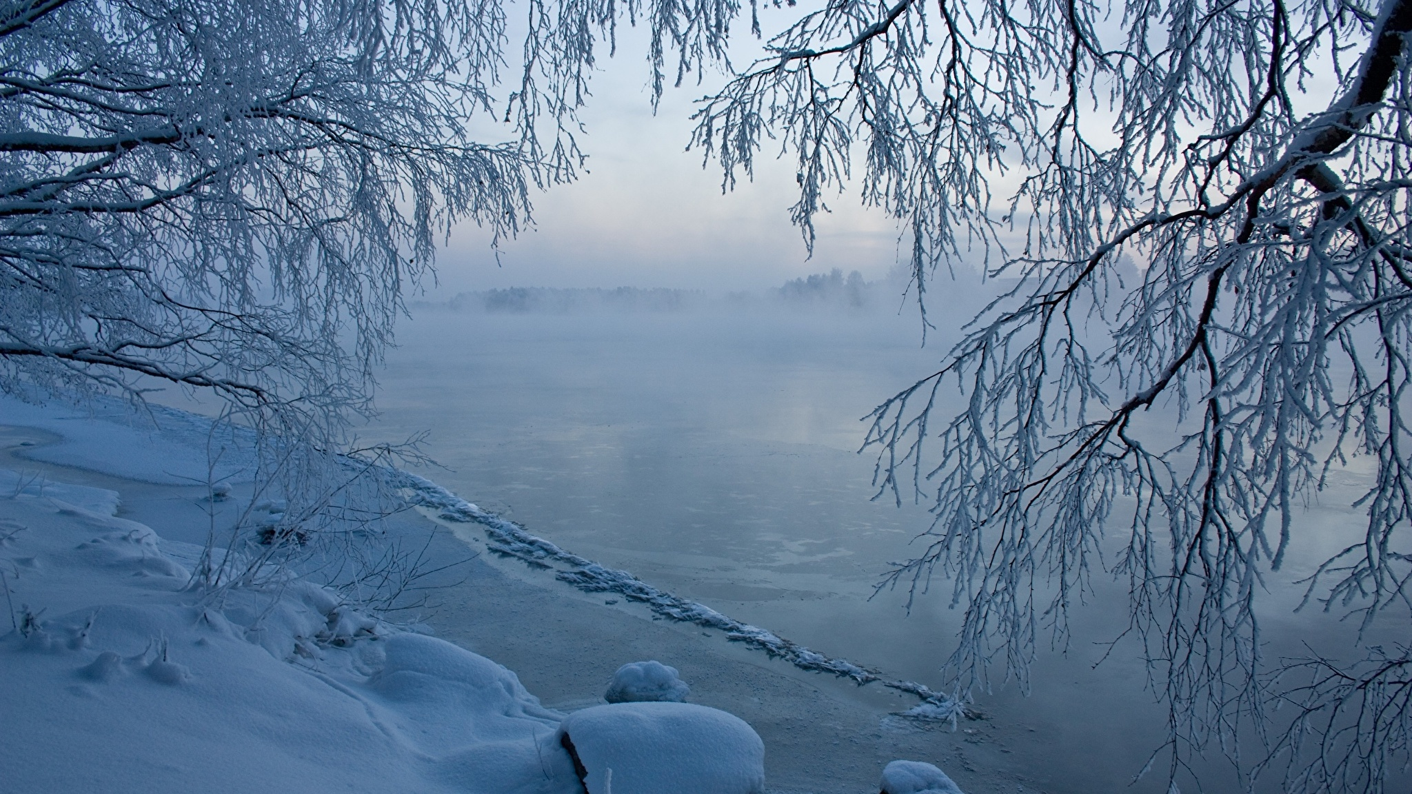 речка зима снег the river winter snow без регистрации