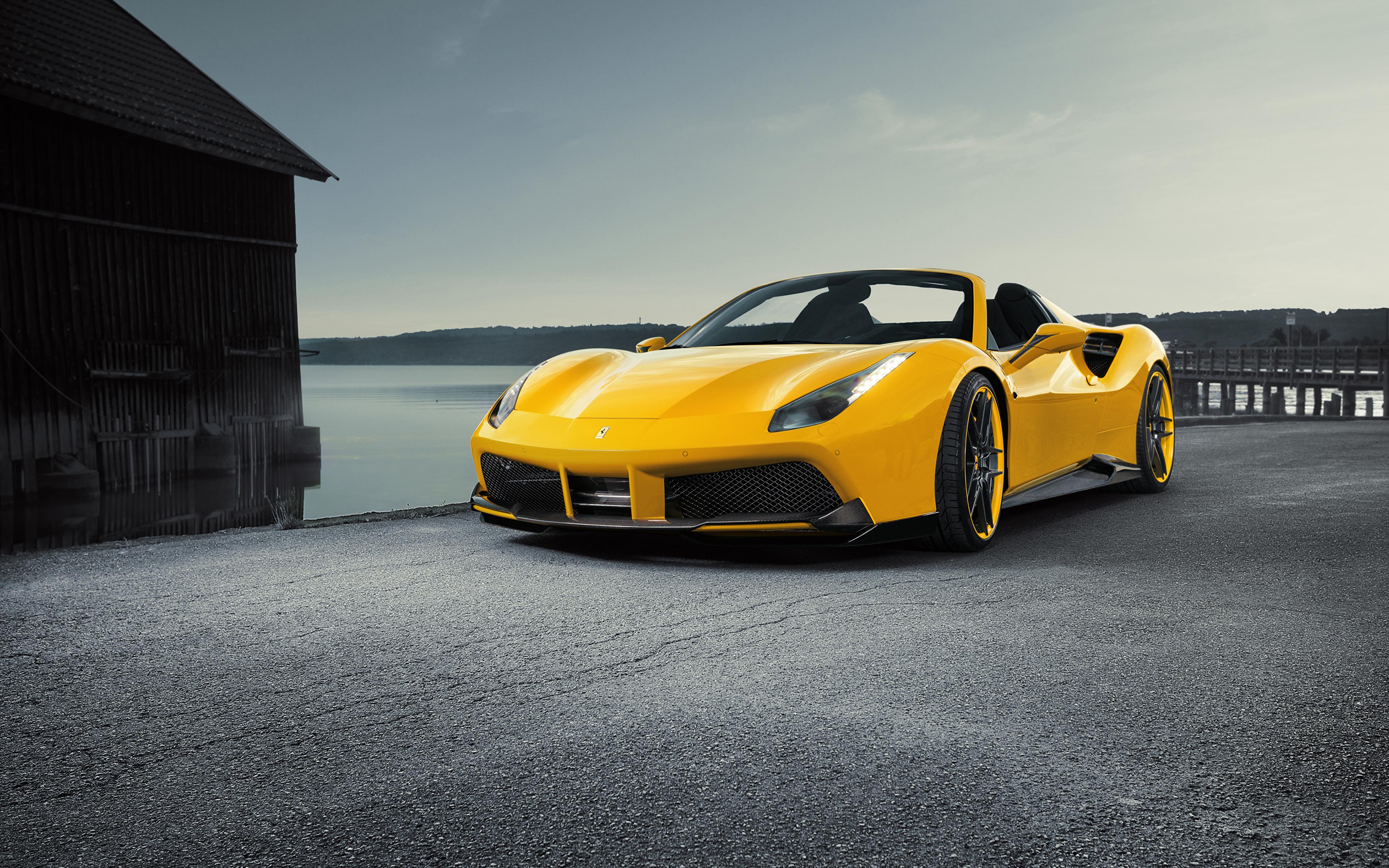 Фотография Ferrari Spider Rosso Novitec 488 Родстер желтая машина 3840x2400 Феррари желтых желтые Желтый авто машины автомобиль Автомобили