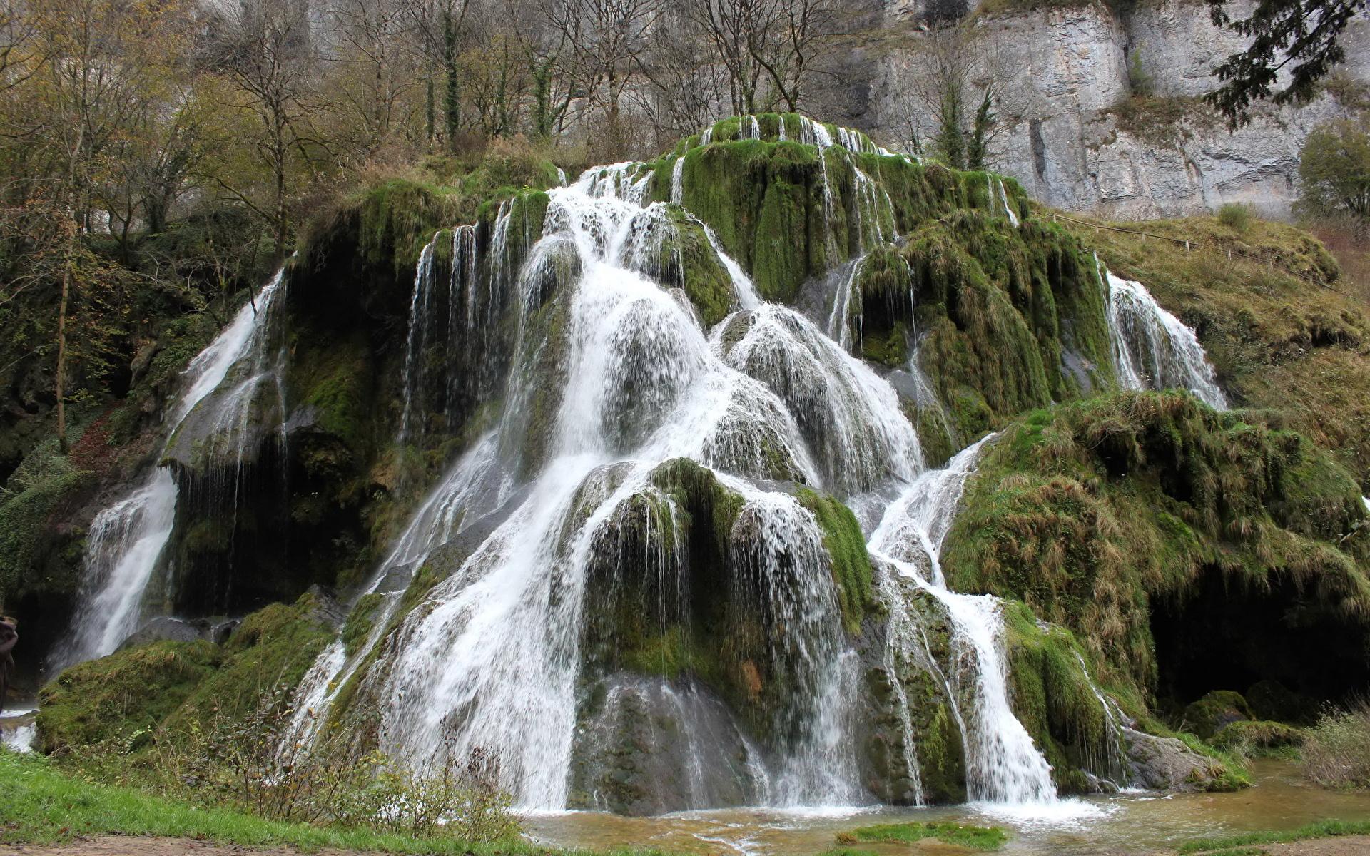 Фотография Франция Cascade des Tufs Природа Водопады Мох 1920x1200 мха мхом