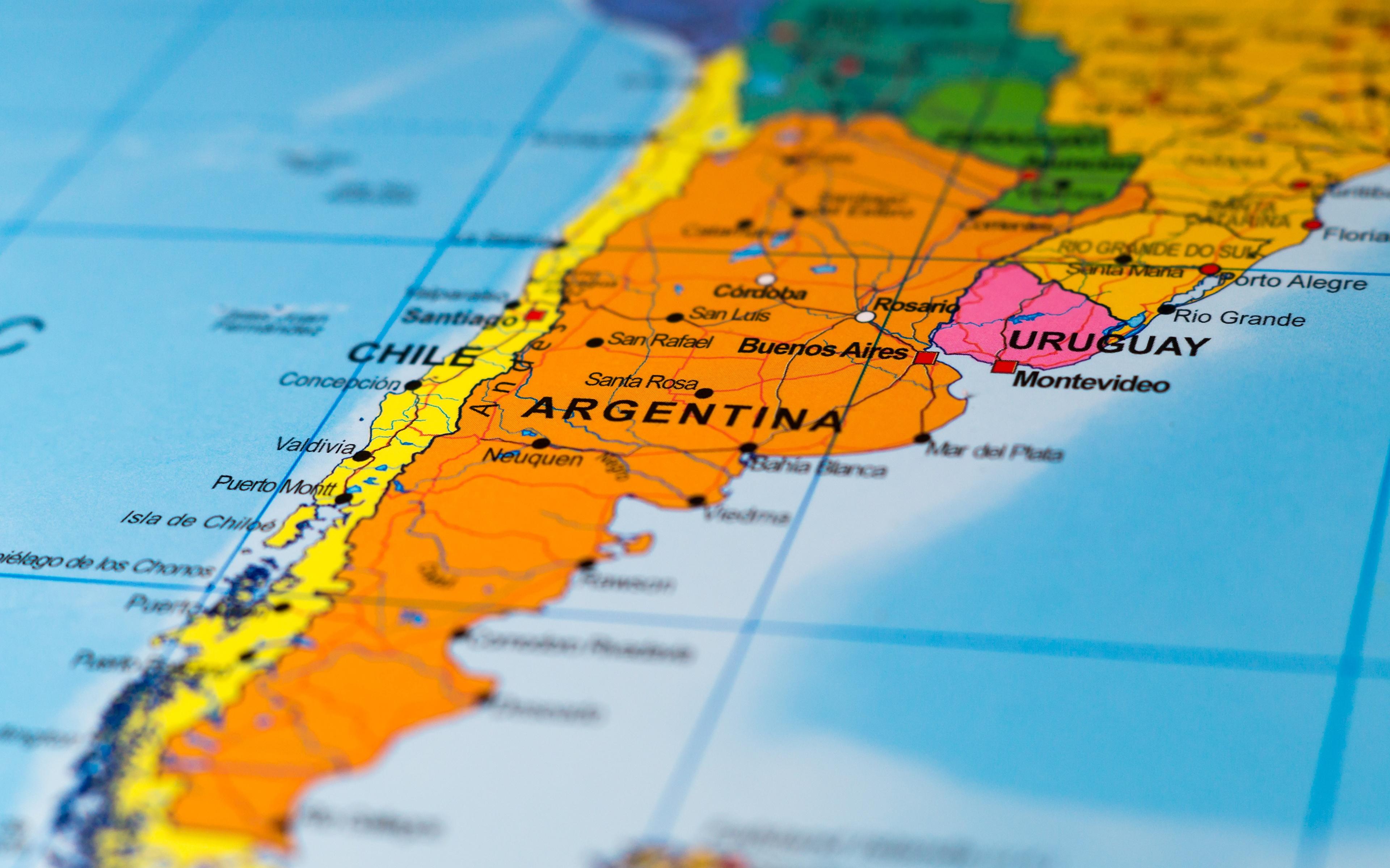 Картинка Географическая карта Чили Аргентина South America География 3840x2400