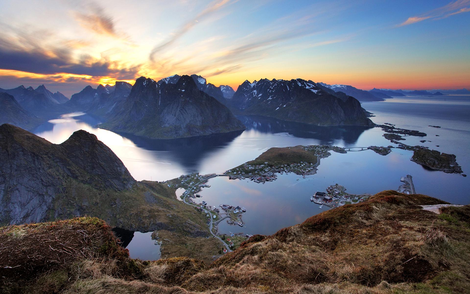 Фотографии Лофотенские острова Норвегия Горы Природа Рассветы и закаты Залив 1920x1200