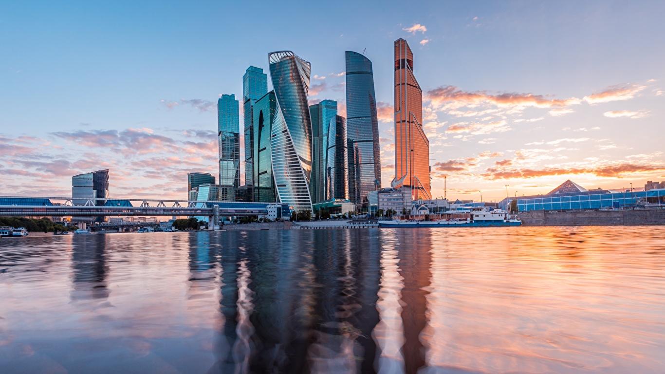 Фотография Москва Россия Moscow City Реки Вечер Небоскребы город 1366x768 река речка Города