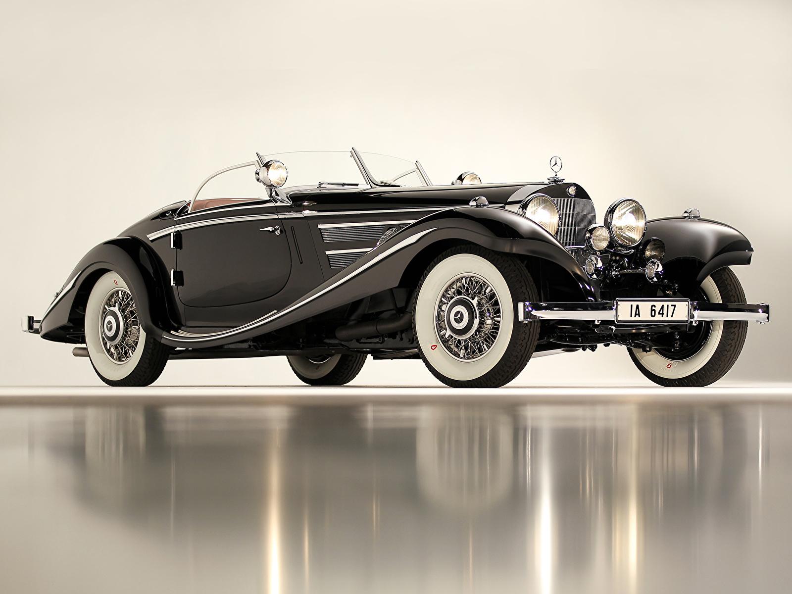 Фотография Мерседес бенц 1936 540K Special Roadster Родстер авто 1600x1200 Mercedes-Benz машина машины автомобиль Автомобили