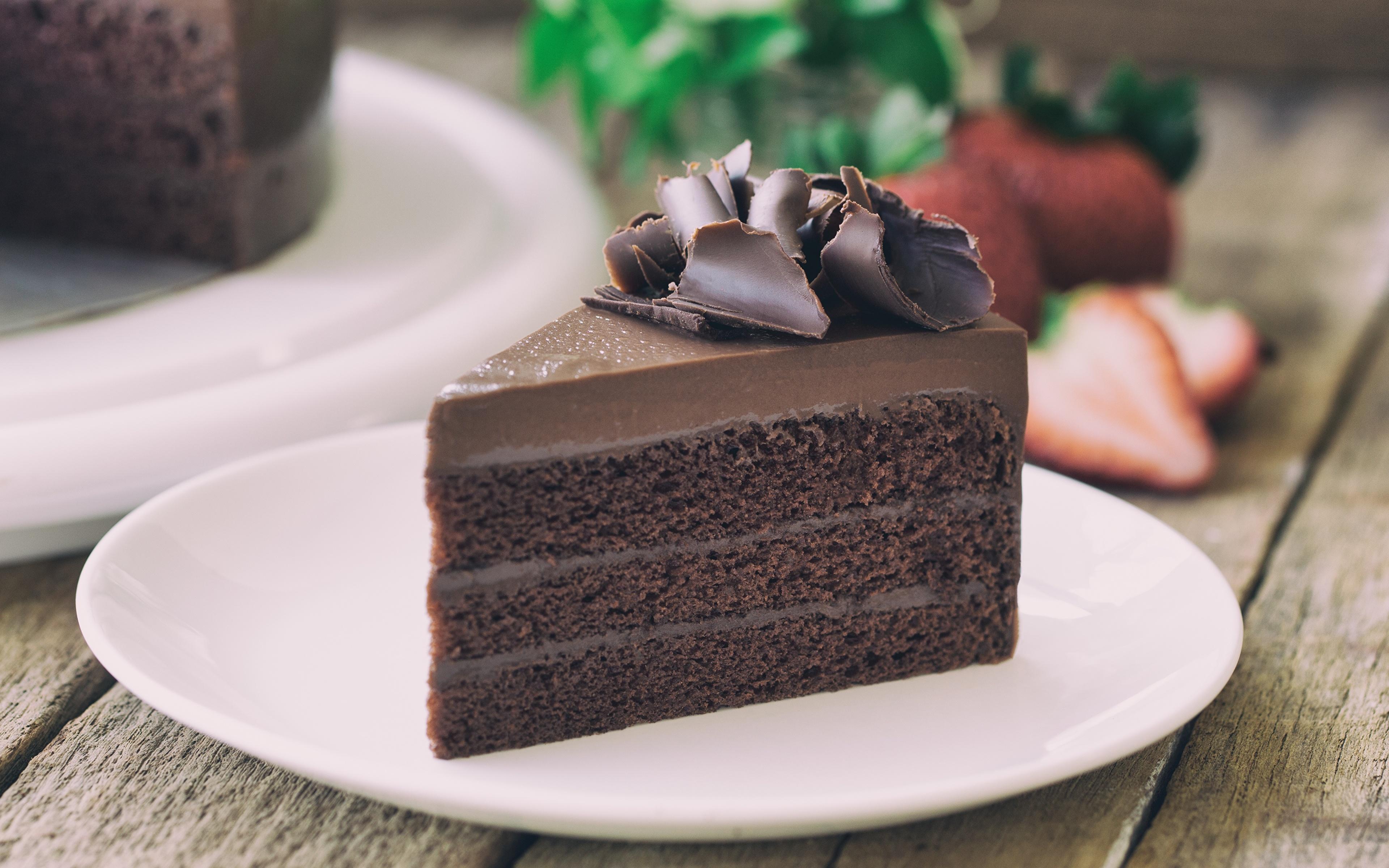 Фотография Шоколад Торты Кусок Еда Тарелка 3840x2400 часть Пища тарелке Продукты питания